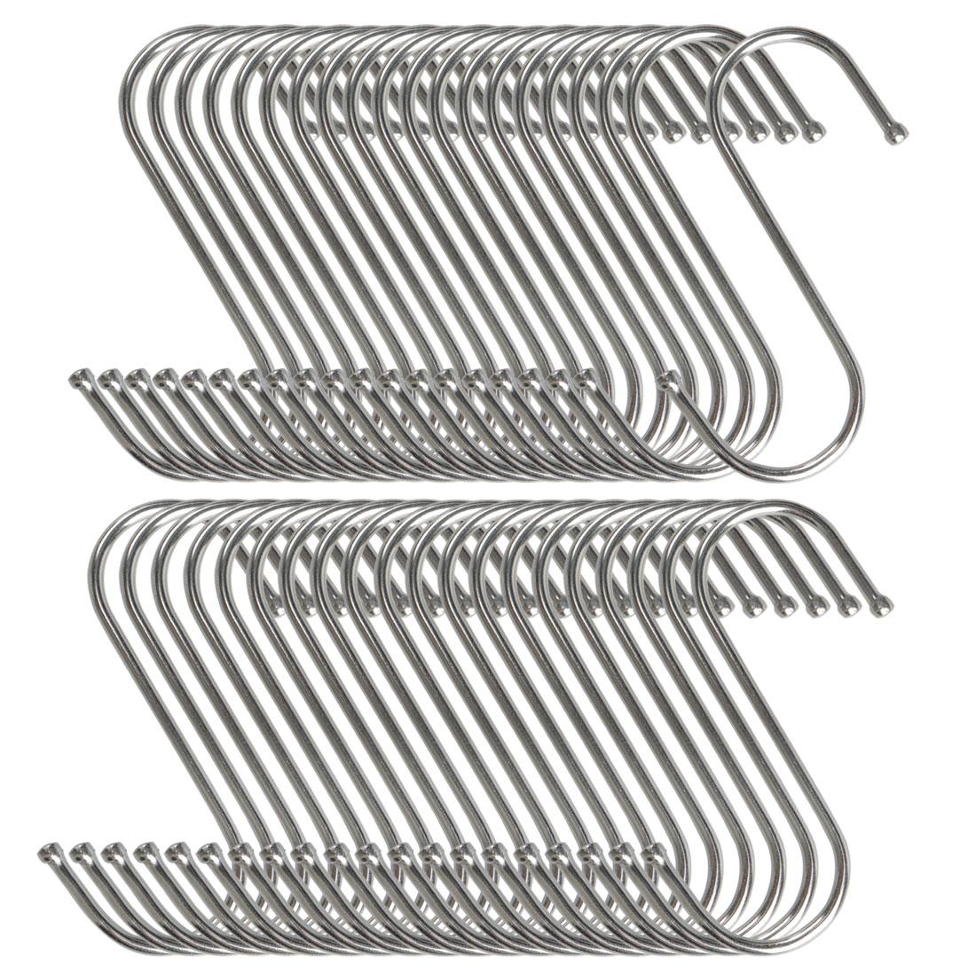 40pcs S Shaped Hook Stainless Steel for Kitchenware Pot Utensil Holder
