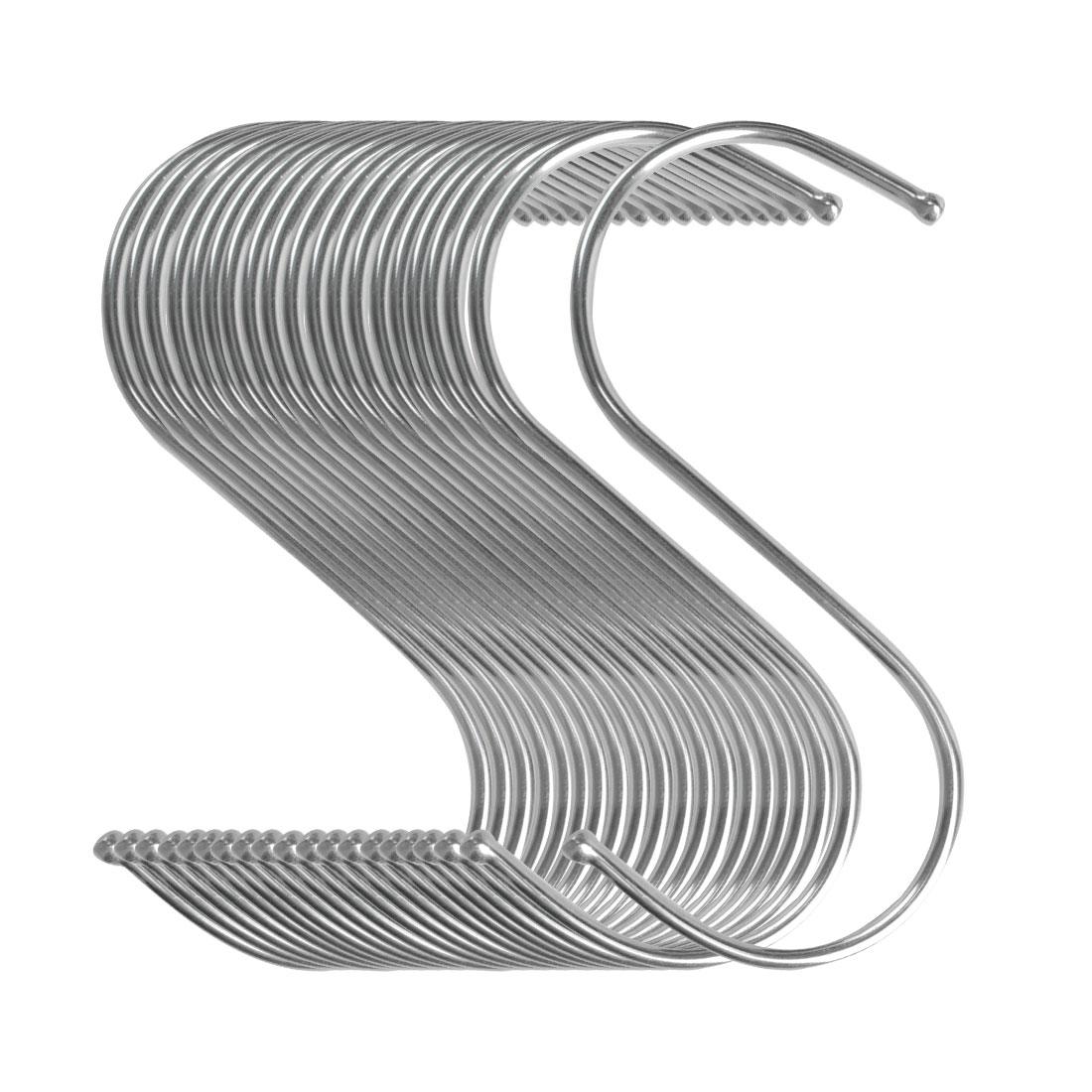 20pcs S Shaped Hook Stainless Steel for Kitchenware Hat Pot Utensil Holder