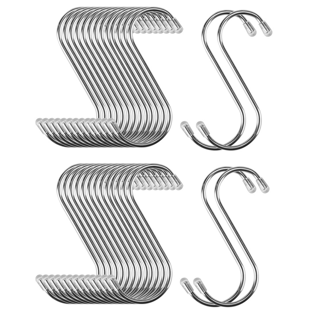 30pcs 2.56 Inch S Shaped Hook Stainless Steel for Kitchenware Hat Coat Holder