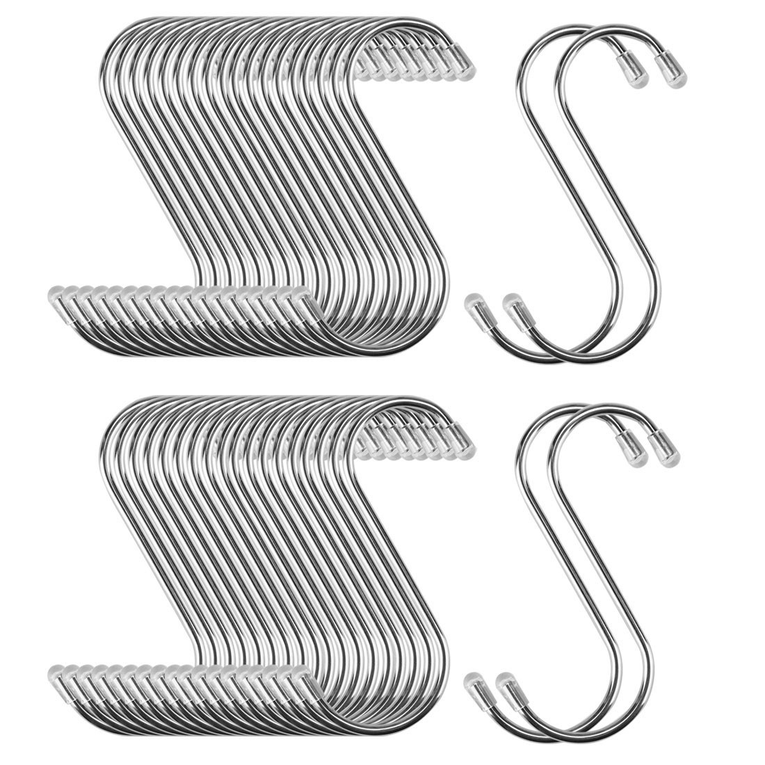 40pcs 2.56 Inch S Shaped Hook Stainless Steel for Kitchenware Hat Coat Holder