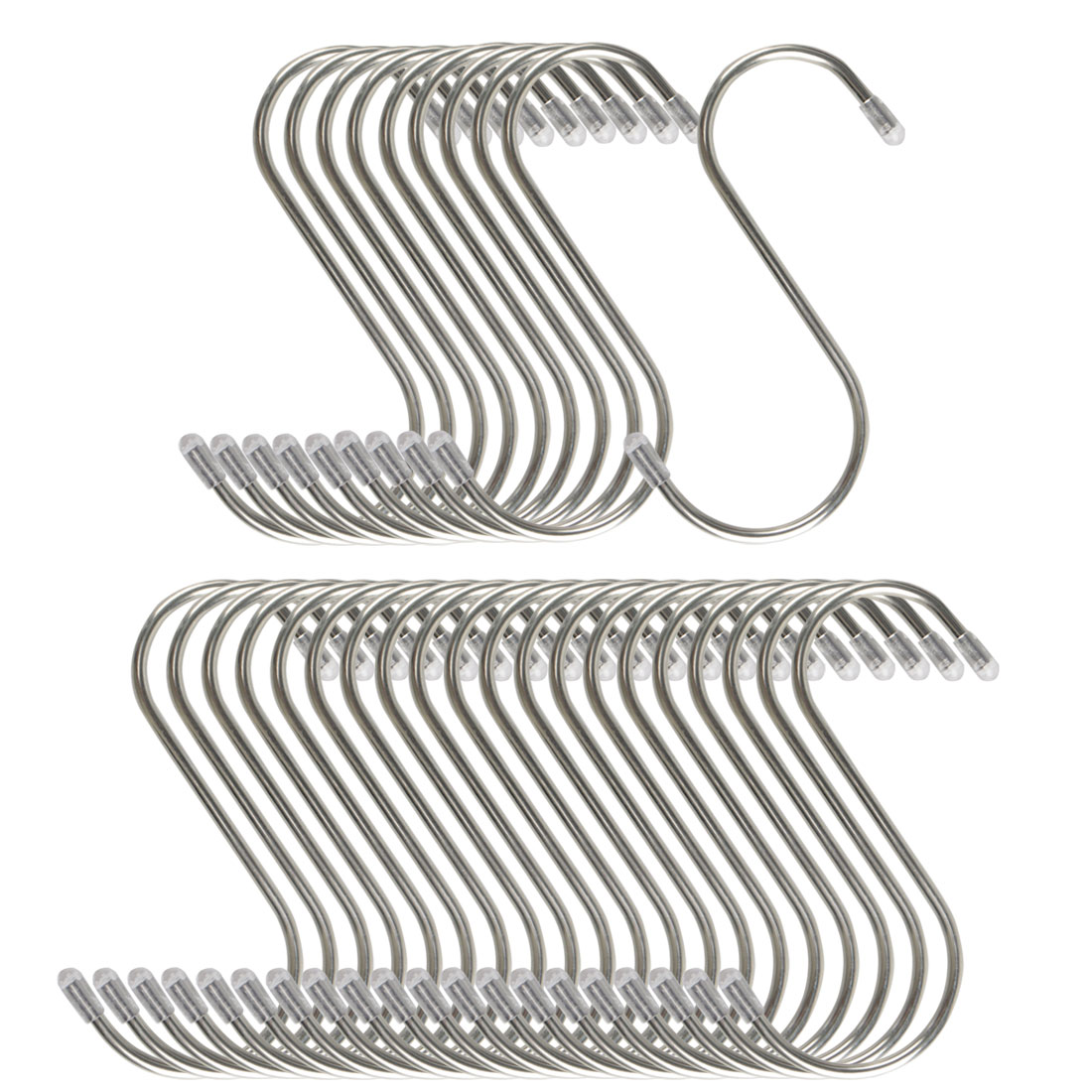 30pcs 4.72 Inch S Shaped Hook Stainless Steel for Kitchenware Hat Coat Holder