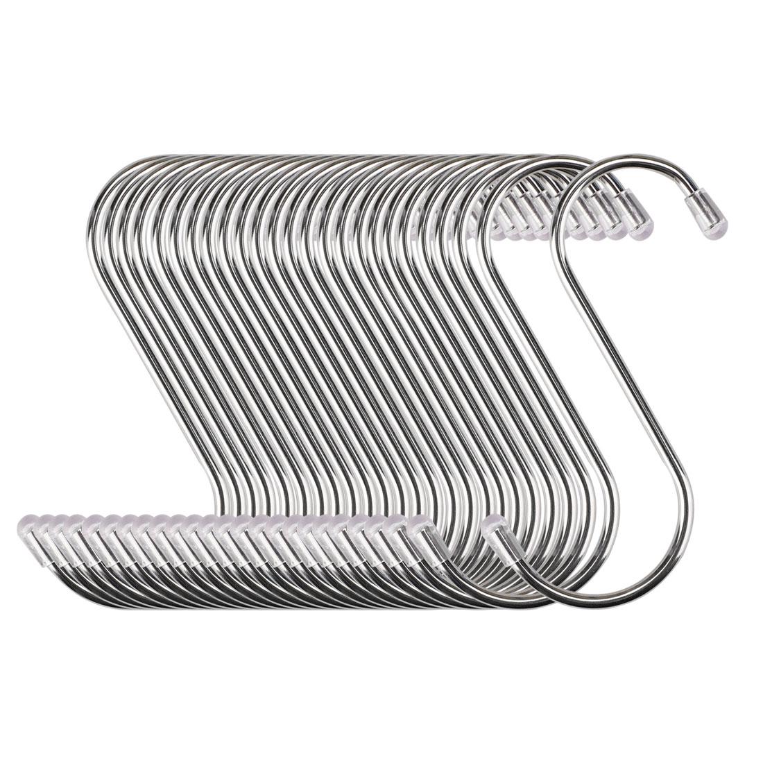 S Shape Hook Rack Stainless Steel for Kitchenware Clothes Utensil Holder 25 Pack