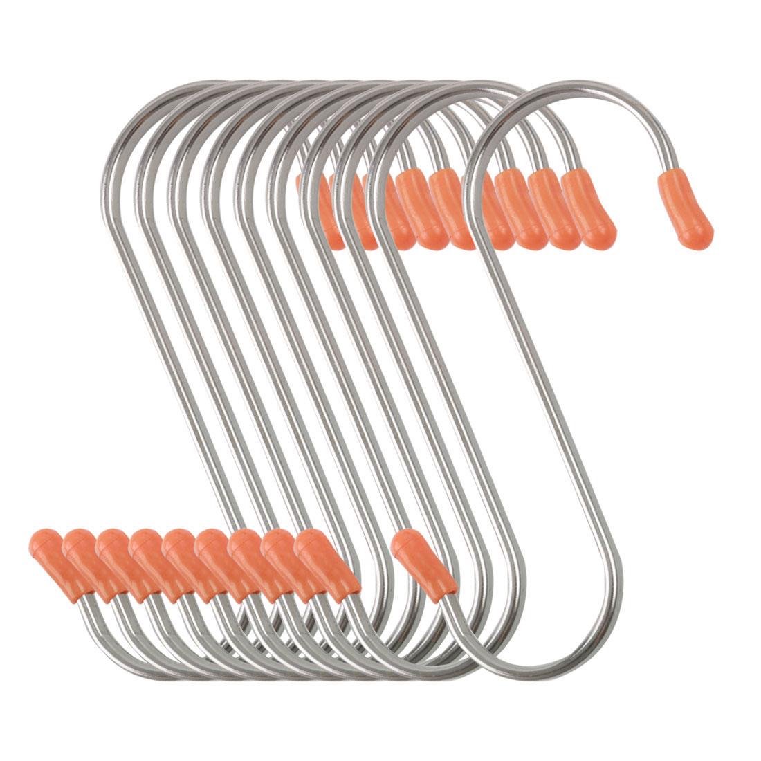 10 Pack S Shape Hook Rack Stainless Steel for Pot Utensils Holder Silver Tone
