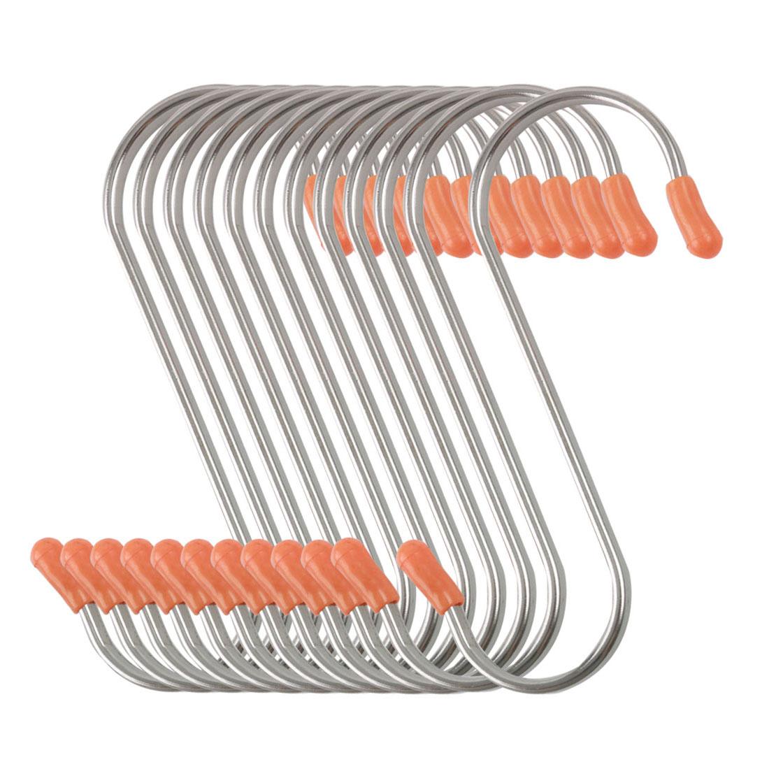 12 Pack S Shape Hook Rack Stainless Steel for Pot Utensils Holder Silver Tone