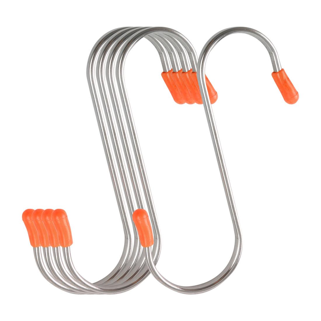5 Pack S Shape Hooks Rack Stainless Steel for Pot Utensils Holder Silver Tone
