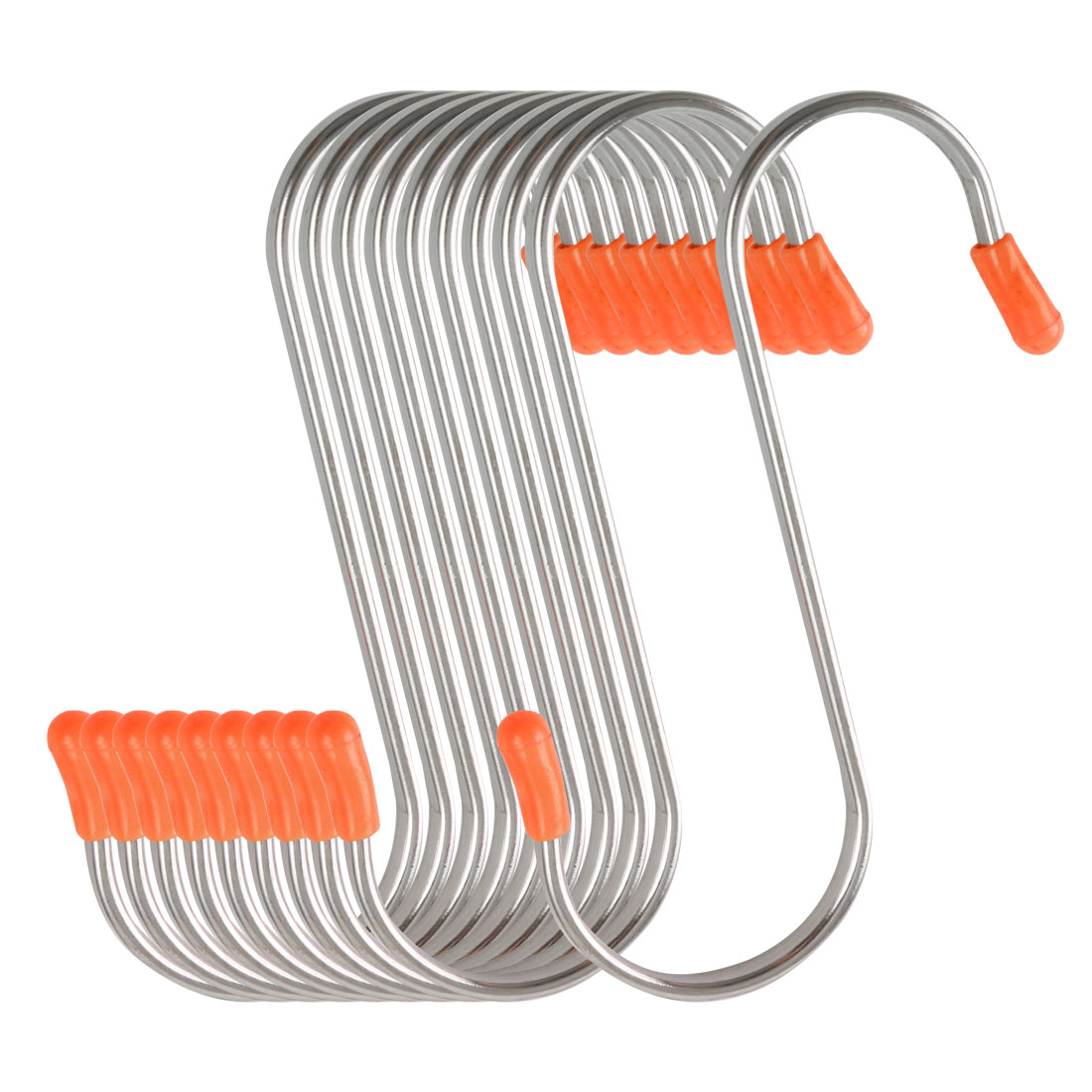 10 Pack S Shape Hooks Rack Stainless Steel for Pot Utensils Holder Silver Tone