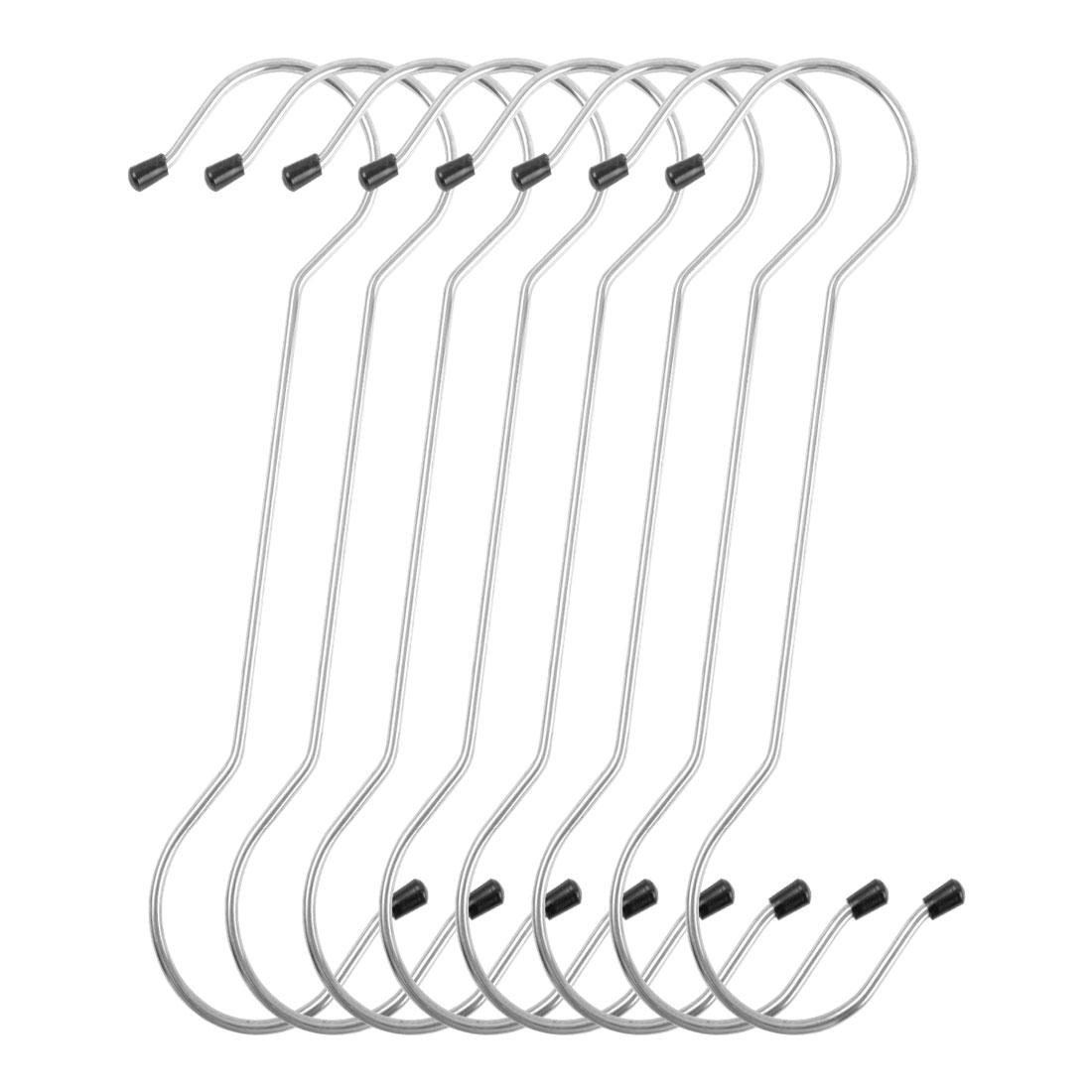 8 Pack S Shape Hooks Rack Stainless Steel for Coat Towel Holder Silver Tone