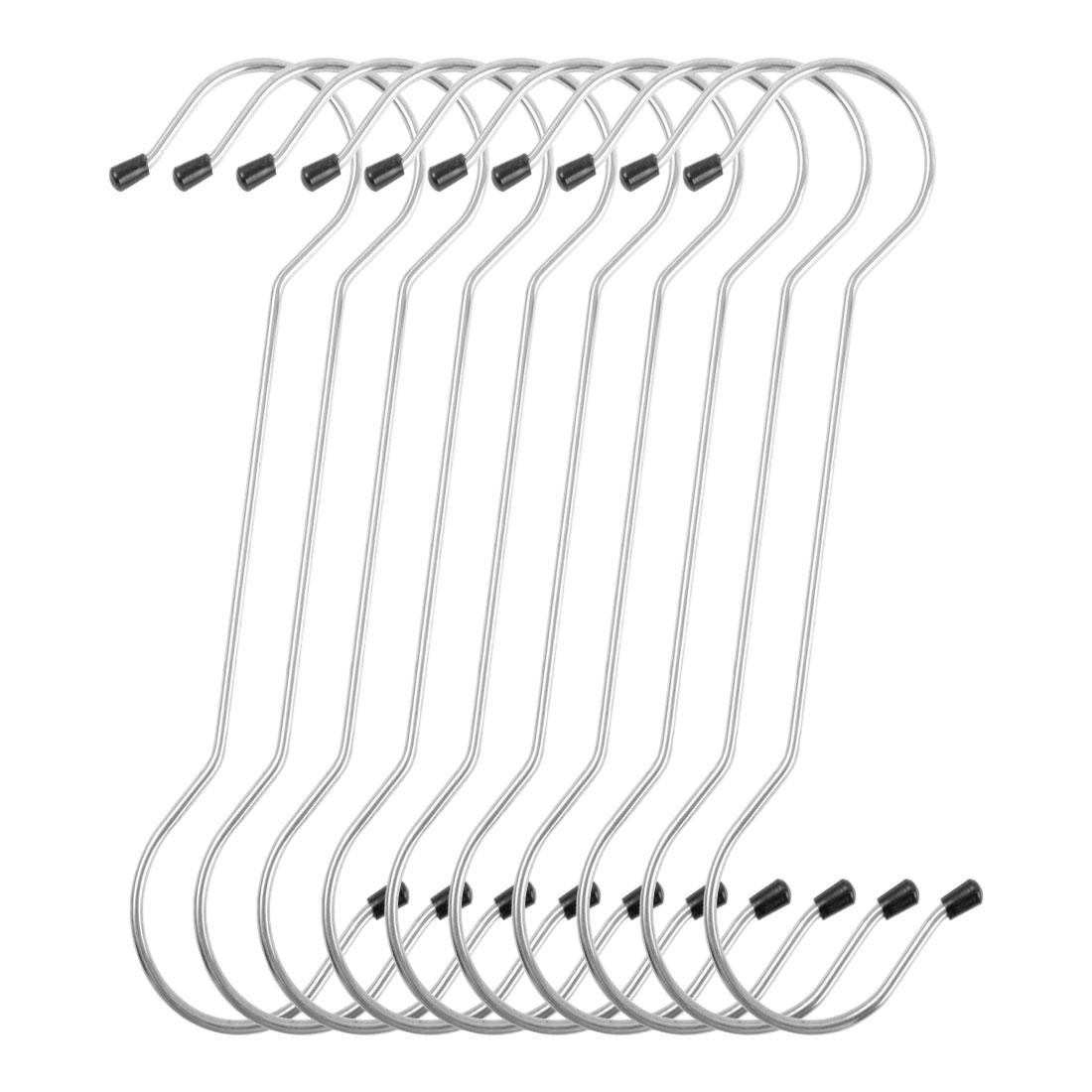 10 Pack S Shape Hooks Rack Stainless Steel for Coat Towel Holder Silver Tone