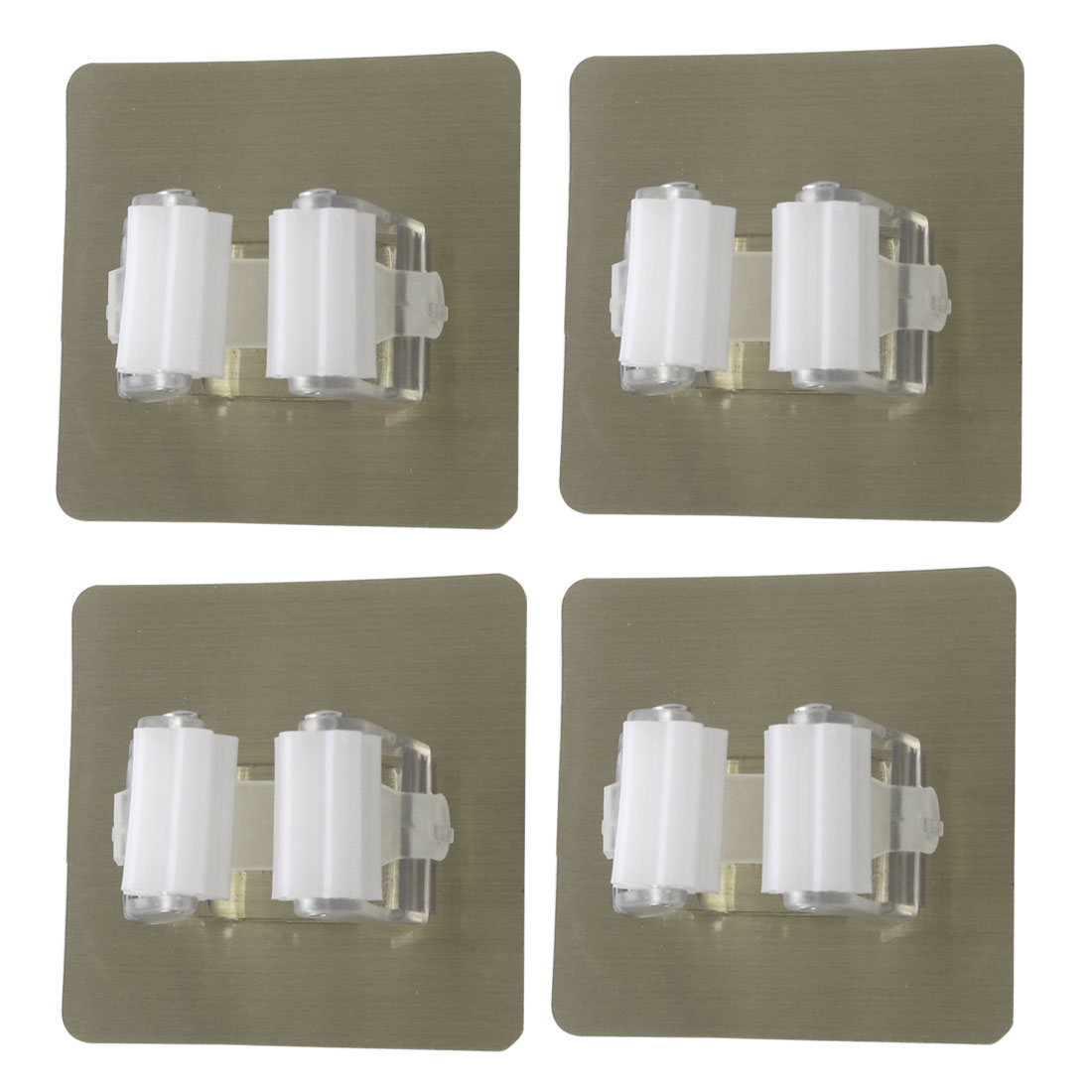 4pcs Mop Clip Holder Household Washroom Self Stick Broom Mop Holder White