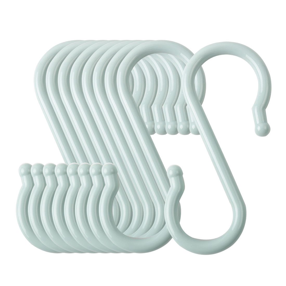 9 Pack S Shaped Hook Plastic for Kitchen Utensils Coat Towel Hanger Light Blue