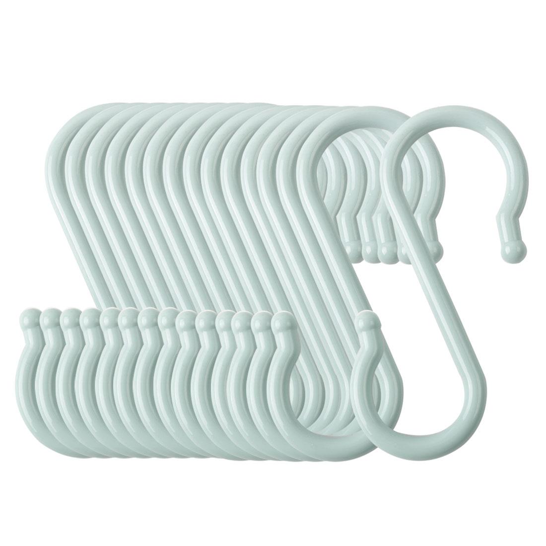 15 Pack S Shaped Hook Plastic for Kitchen Utensils Coat Towel Hanger Light Blue