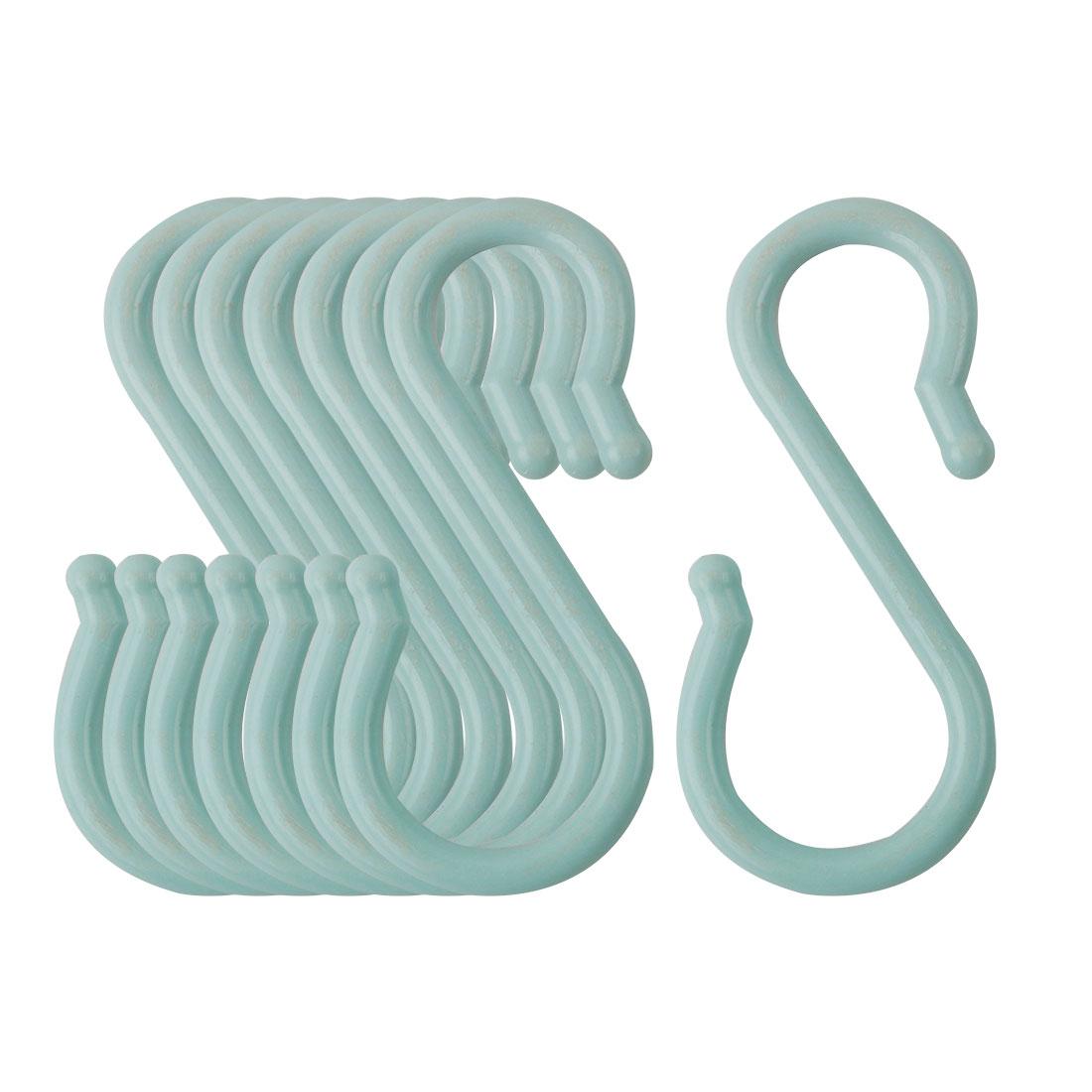 8 Pack S Hook Plastic Hanging Closet Utensils Coat Towel Hanger Light Blue