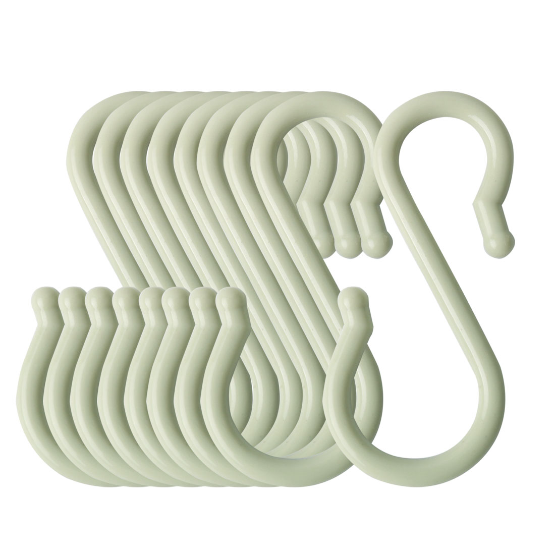 9 Pack S Shaped Hook Plastic for Kitchen Utensils Towel Hanger Light Green
