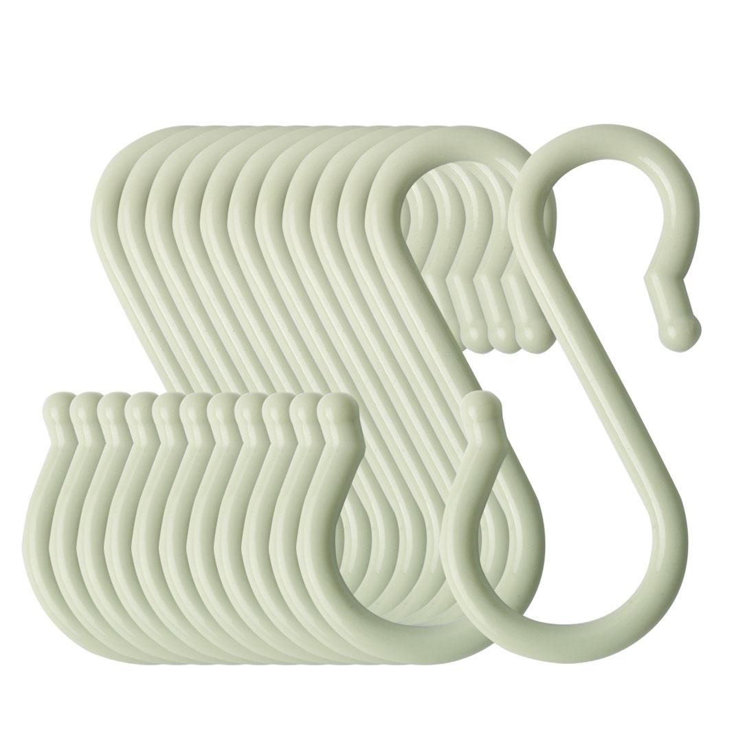 12 Pack S Shaped Hook Plastic for Kitchen Utensils Towel Hanger Light Green
