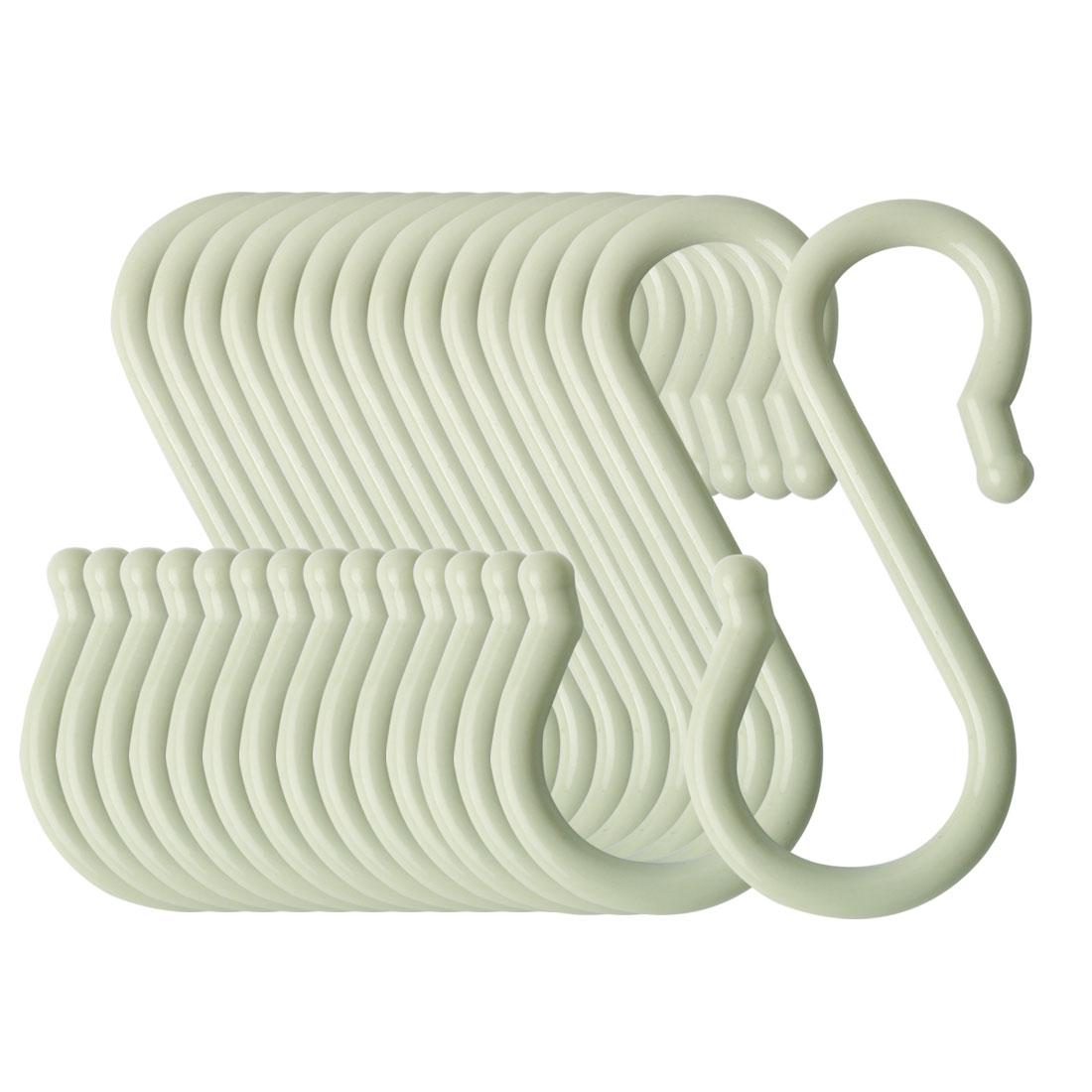 15 Pack S Shaped Hook Plastic for Kitchen Utensils Towel Hanger Light Green