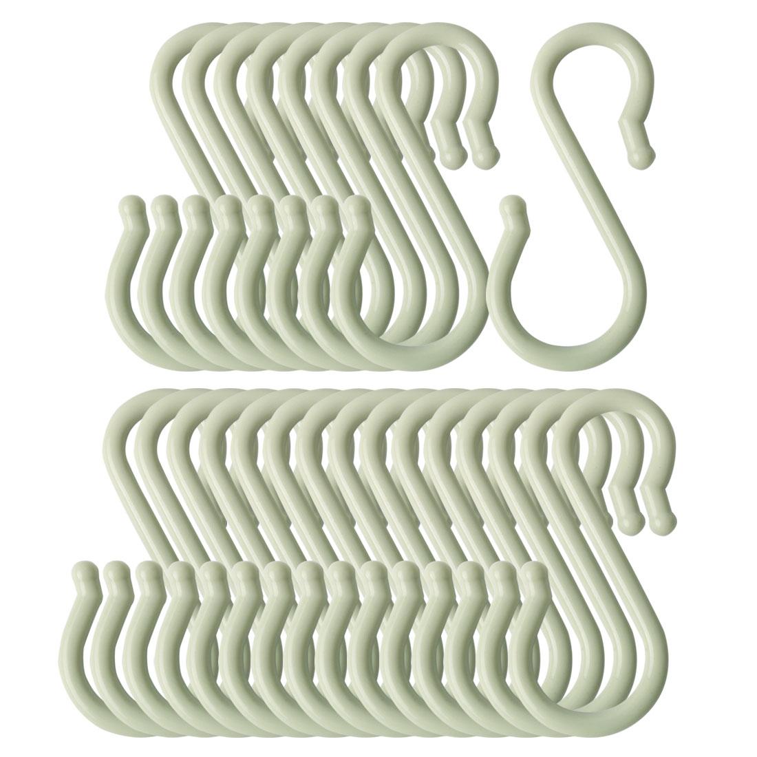 24 Pack S Shaped Hook Plastic for Kitchen Utensils Towel Hanger Light Green