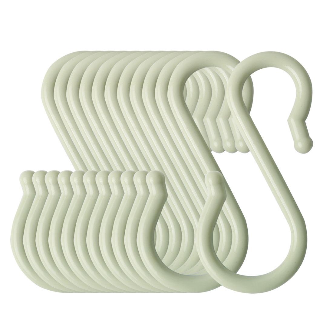12 Pack S Hook Plastic for Kitchen Pots Utensils Coat Towel Hanging Light Green
