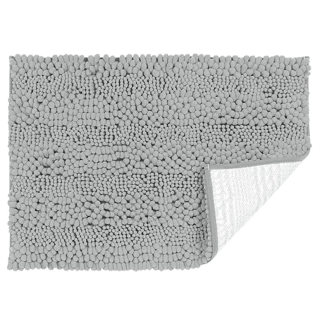 17 x 24 Inch Luxury Soft Plush Shaggy Bath Mat Chenille Rug Carpet Light Gray