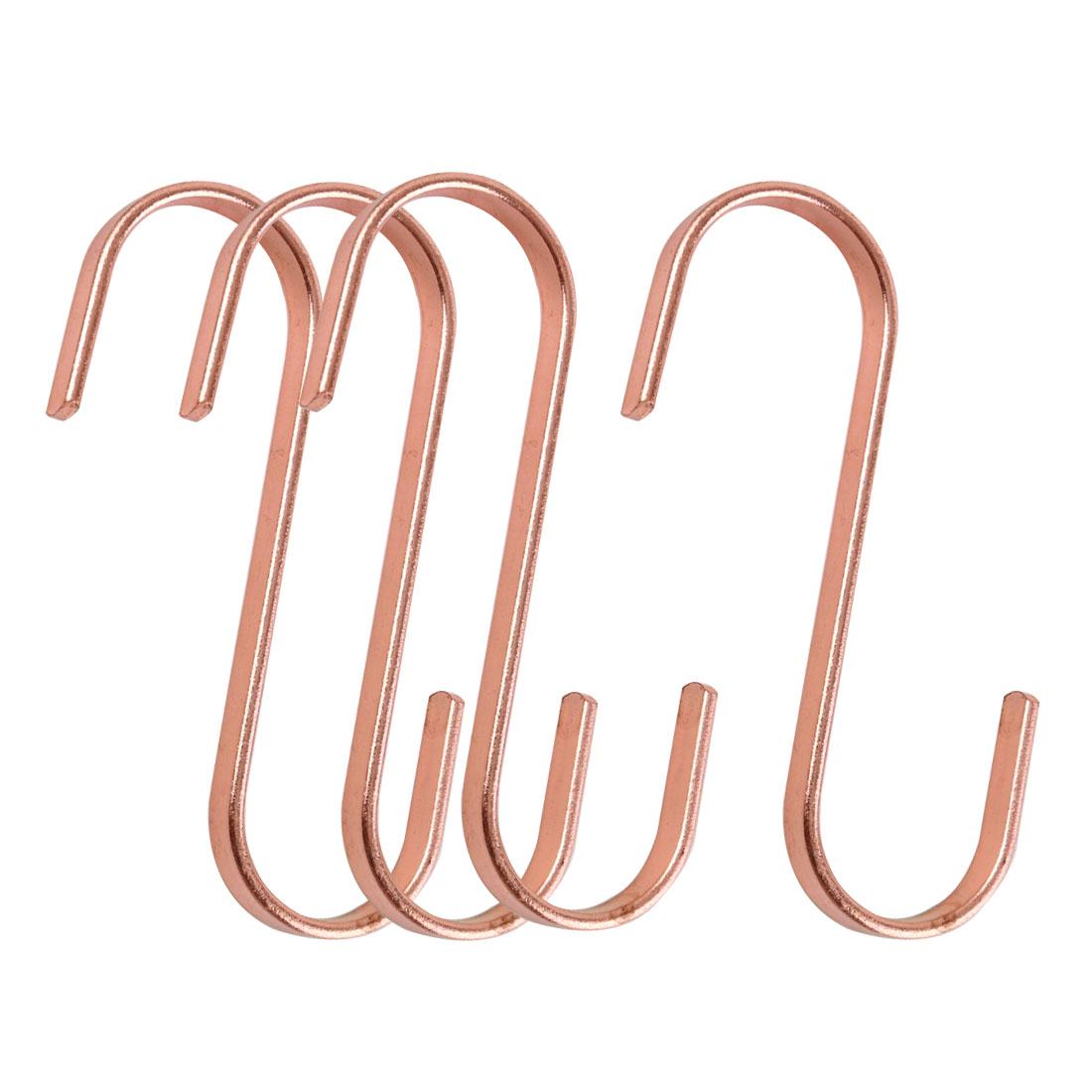 4 Pcs S Hook Rack Stainless Steel for Utensils Coat Towel Holder Rose Gold
