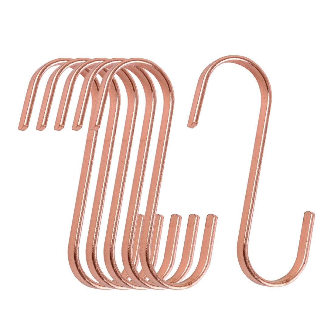 6 Pcs S Hook Rack Stainless Steel for Utensils Coat Towel Holder Rose Gold