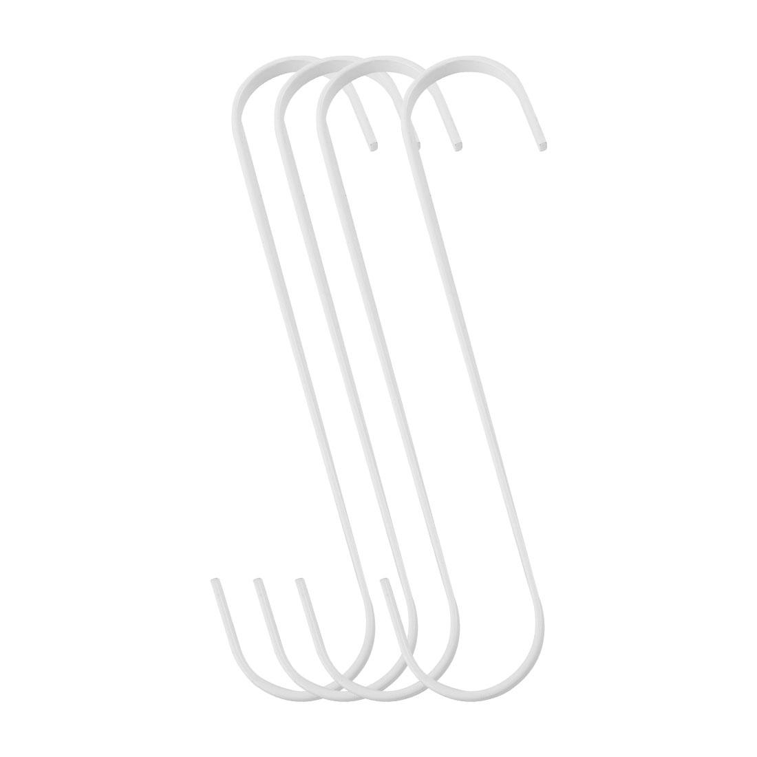 4pcs S Shape Hook Rack Stainless Steel for Pot Utensils Coat Towel Holder White