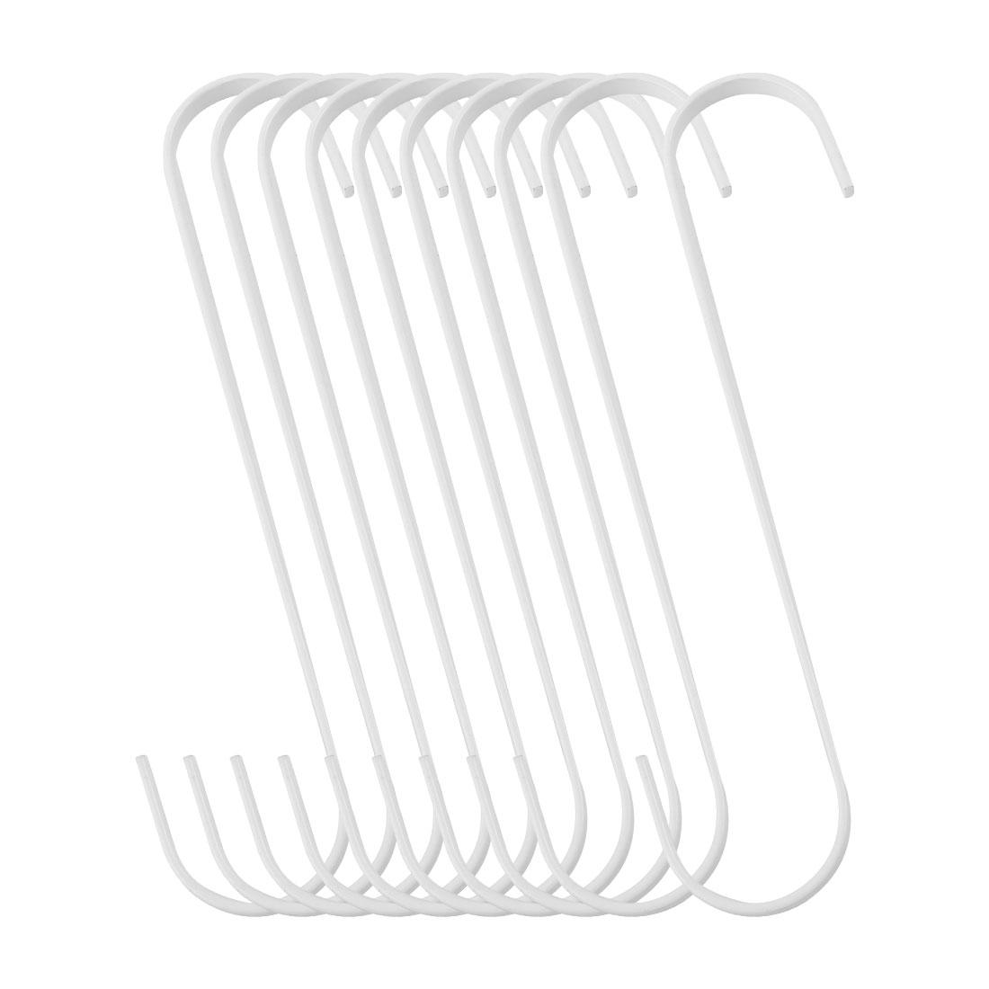 10pcs S Shape Hook Rack Stainless Steel for Pot Utensils Coat Towel Holder White