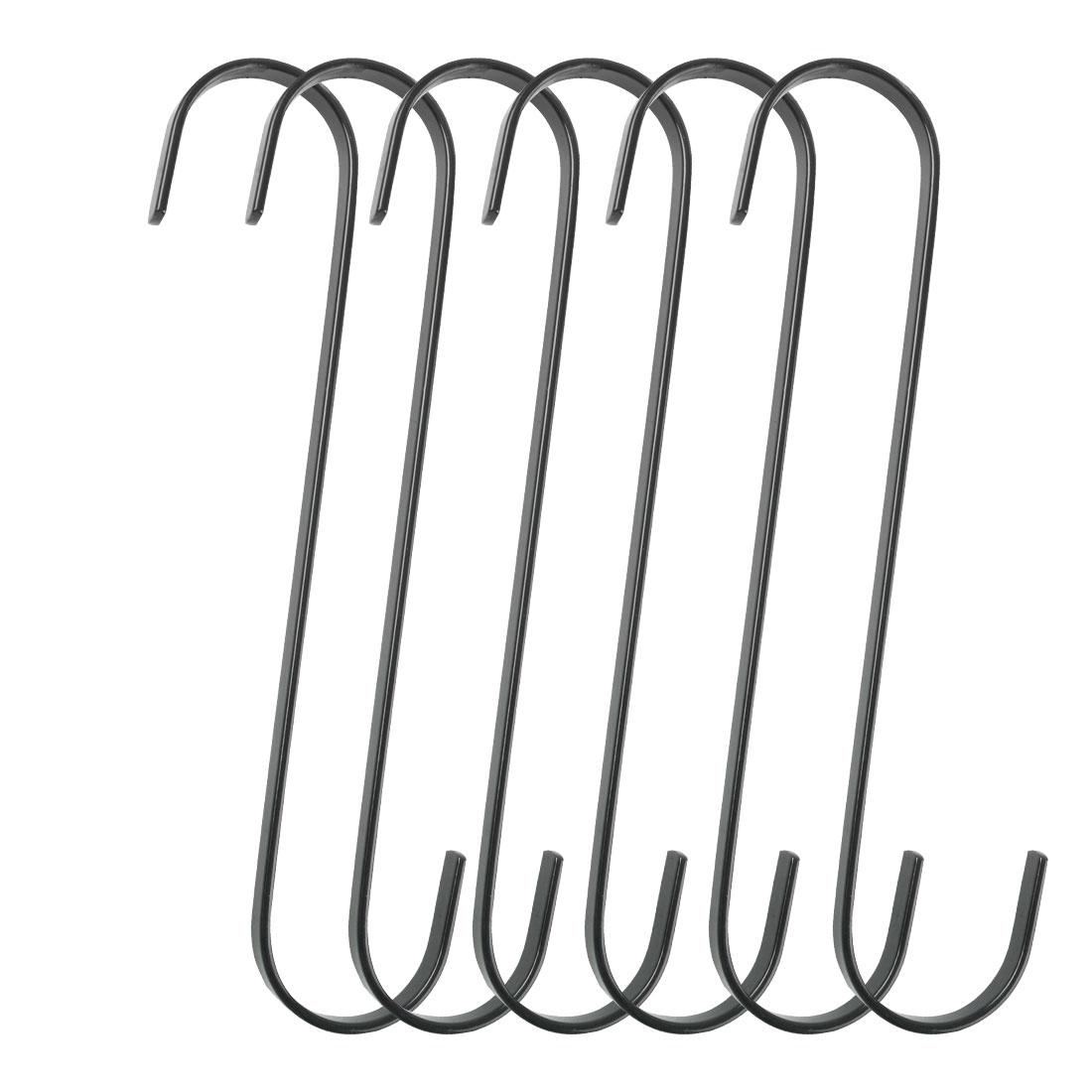6pcs S Shape Hook Rack Stainless Steel for Pot Utensils Coat Towel Holder Black