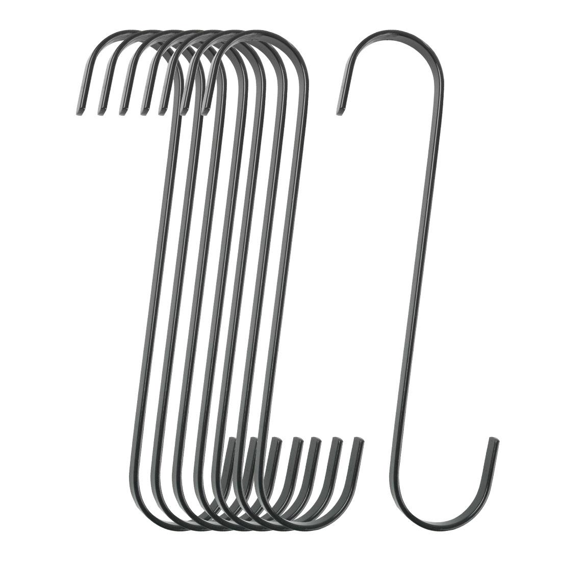8pcs S Shape Hook Rack Stainless Steel for Pot Utensils Coat Towel Holder Black