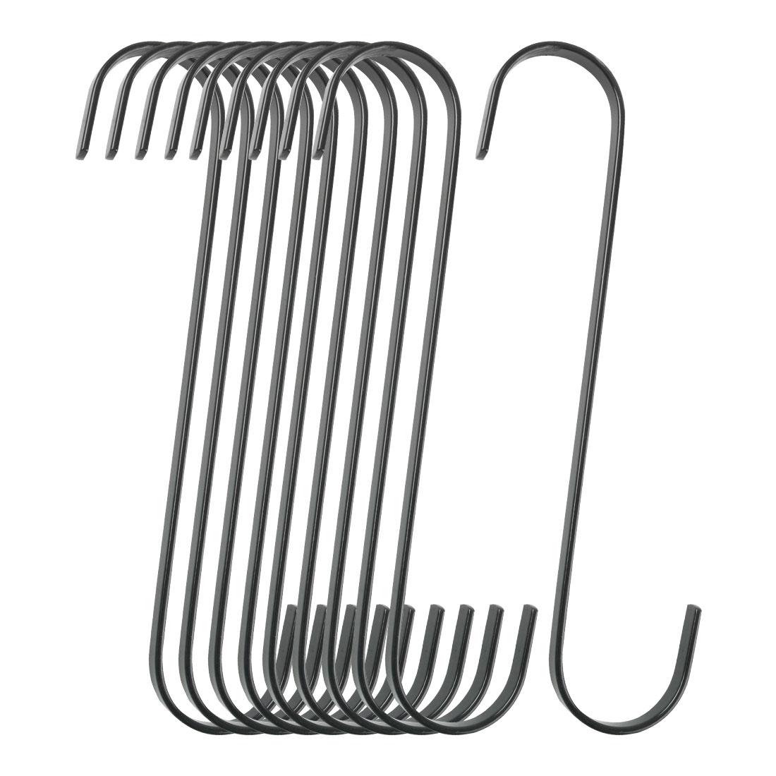 10pcs S Shape Hook Rack Stainless Steel for Pot Utensils Coat Towel Holder Black