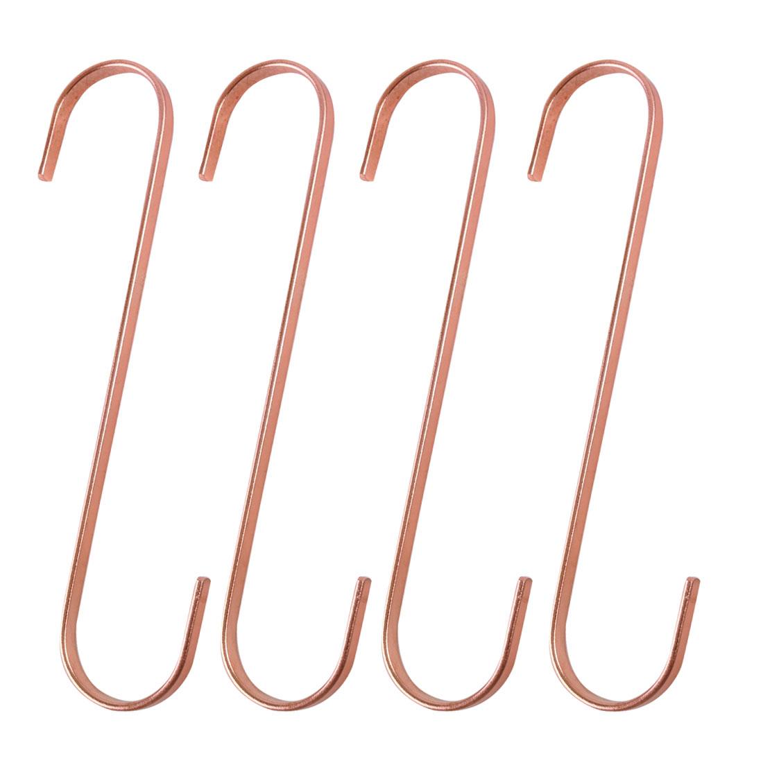 4pcs S Shape Hook Rack Stainless Steel for Pot Utensils Coat Holder Rose Gold