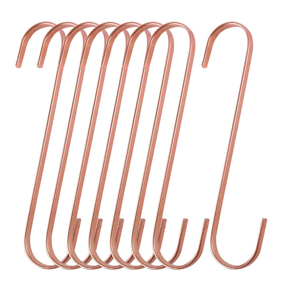 8pcs S Shape Hook Rack Stainless Steel for Pot Utensils Coat Holder Rose Gold