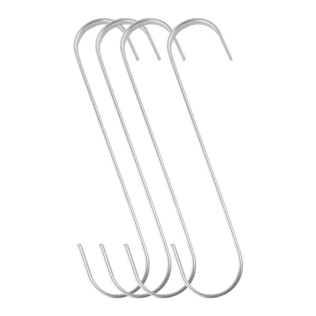 4pcs S Shaped Hook Stainless Steel for Kitchenware Utensil Holder Silver Tone