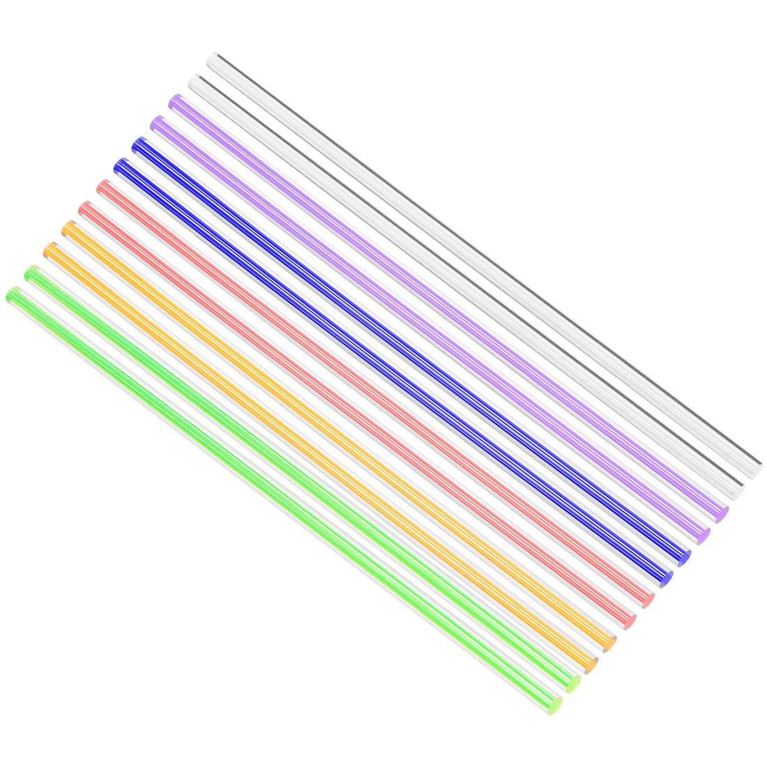 Solid Acrylic Round Rod Straight Line PMMA Bar 6mmx250mm Multicolor 12Pcs