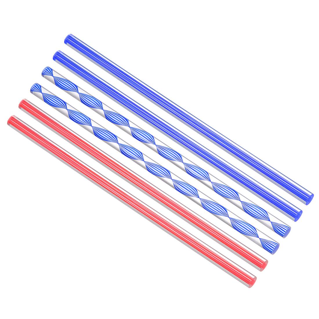 Solid Acrylic Round Rod Red Dark Blue Line PMMA Bar 10mmx250mm 6Pcs