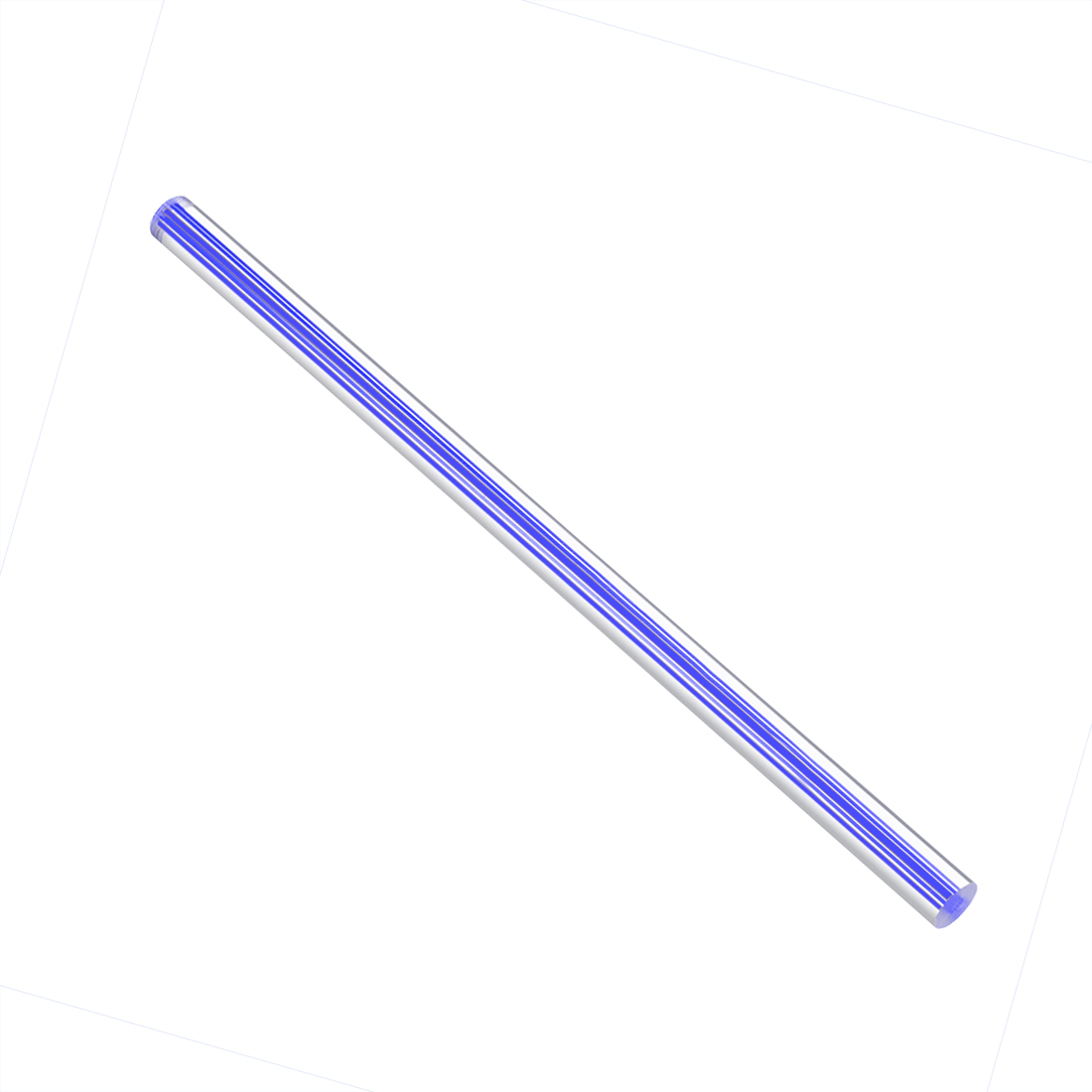 Solid Acrylic Round Rod Straight Dark Blue Line PMMA Bar,10mmx250mm