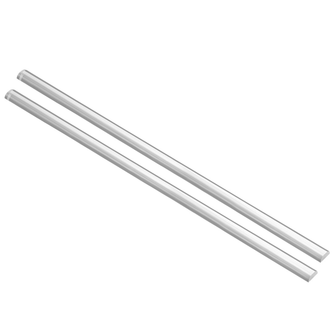 5mmx10mmx500mm Semicircle Shape Solid Acrylic Rod PMMA Extruded Bar Clear 2Pcs