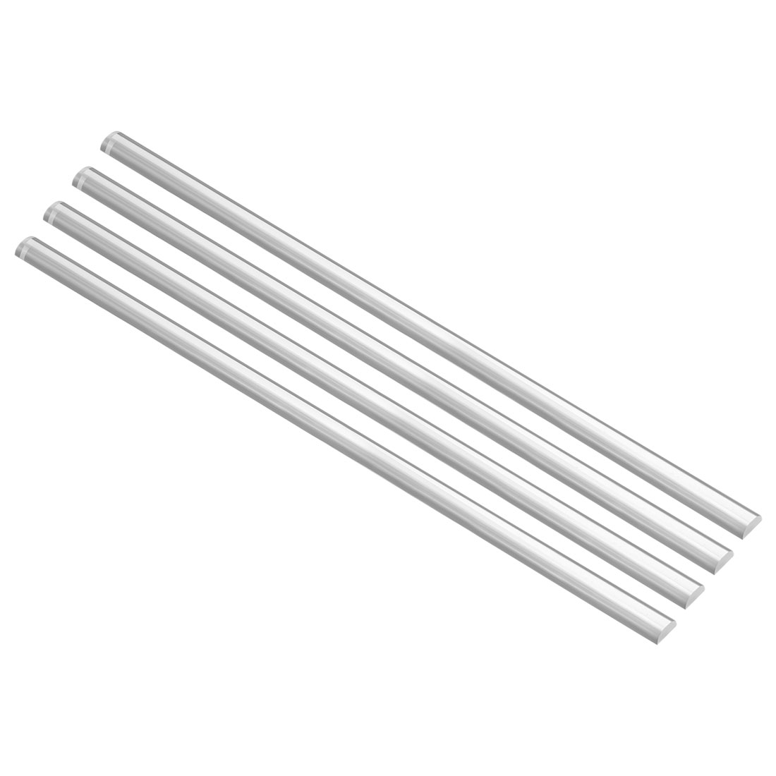 5mmx10mmx250mm Semicircle Shape Solid Acrylic Rod PMMA Extruded Bar Clear 4Pcs