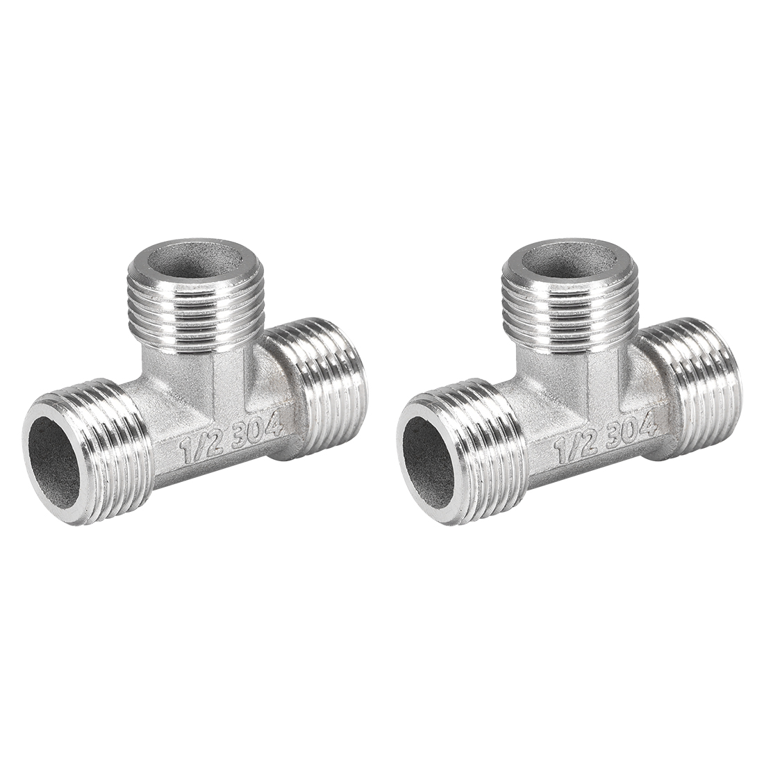 Stainless Steel 304 Cast Pipe Fitting G1/2 Male Thread Tee Shaped Connector 2pcs