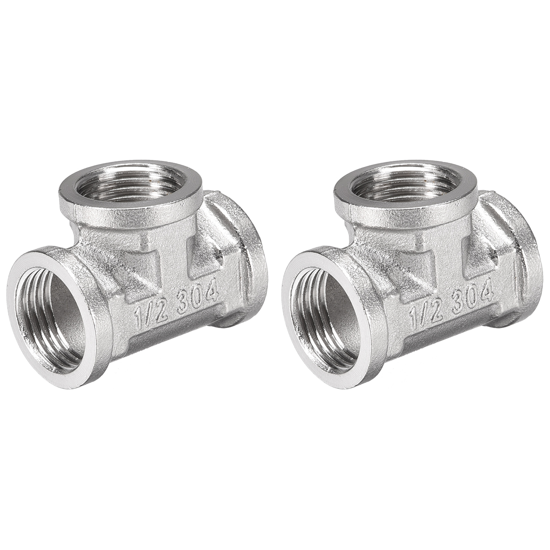 Stainless Steel 304 Cast Pipe Fitting 1/2BSPT Tee Shaped Connector Coupler 2pcs