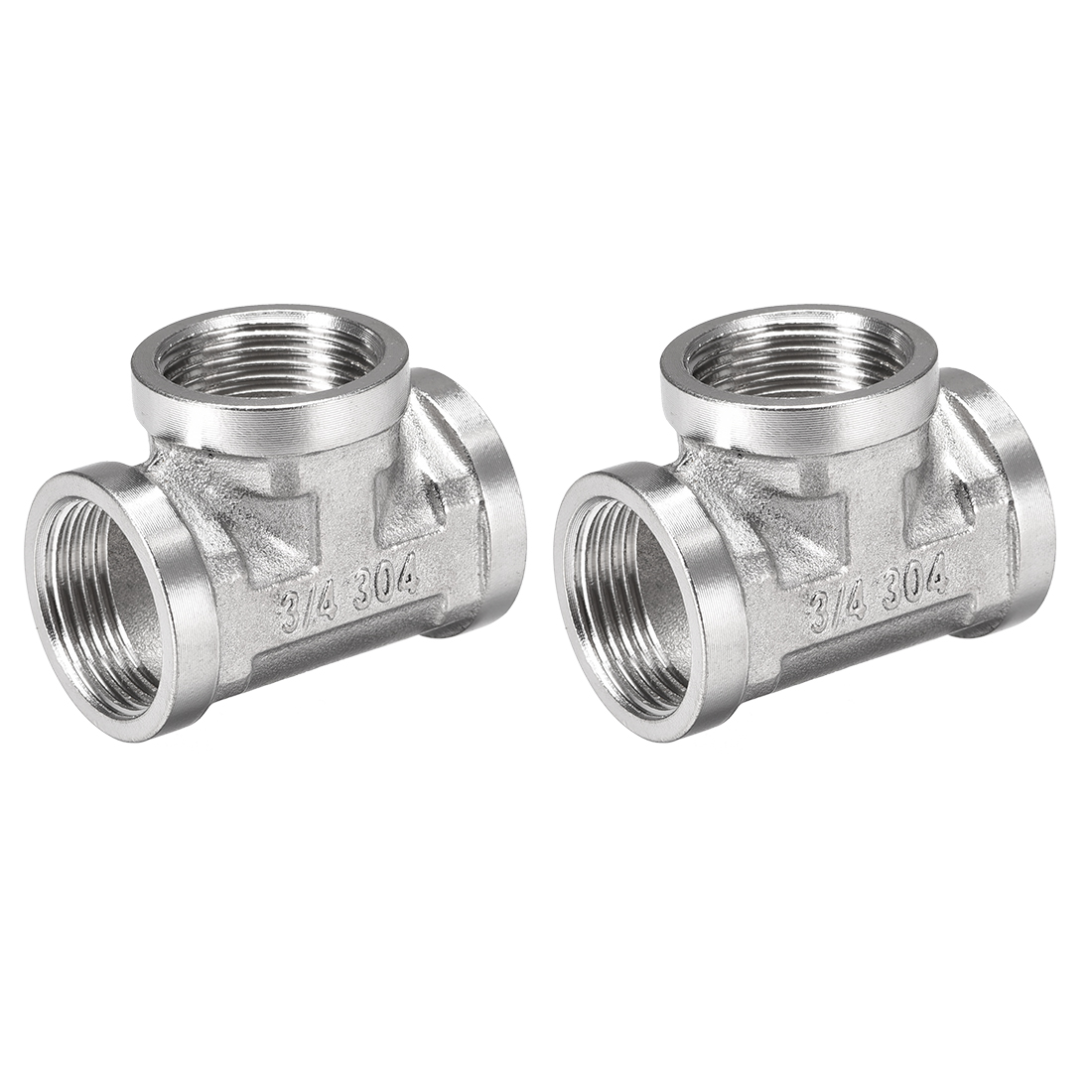 Stainless Steel 304 Cast Pipe Fitting G3/4 Female Tee Shaped Connector 2pcs
