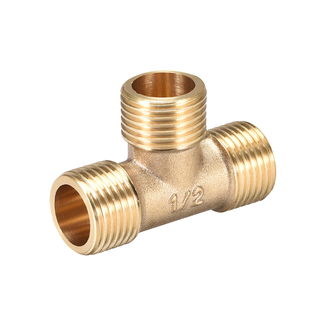 Brass Tee Pipe Fitting G1/2 Male Thread T Shaped Connector Coupler