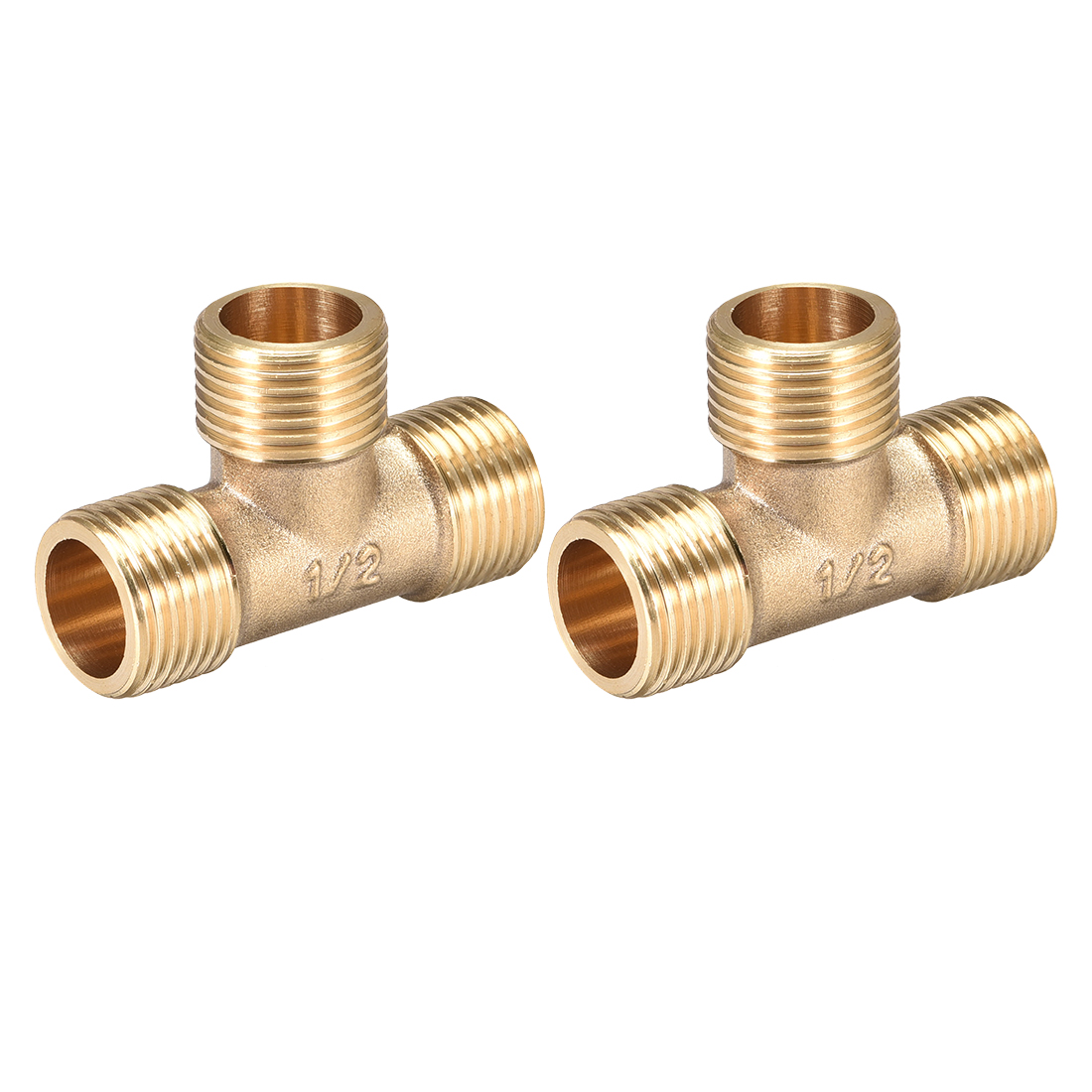 Brass Tee Pipe Fitting G1/2 Male Thread T Shaped Connector Coupler 2pcs