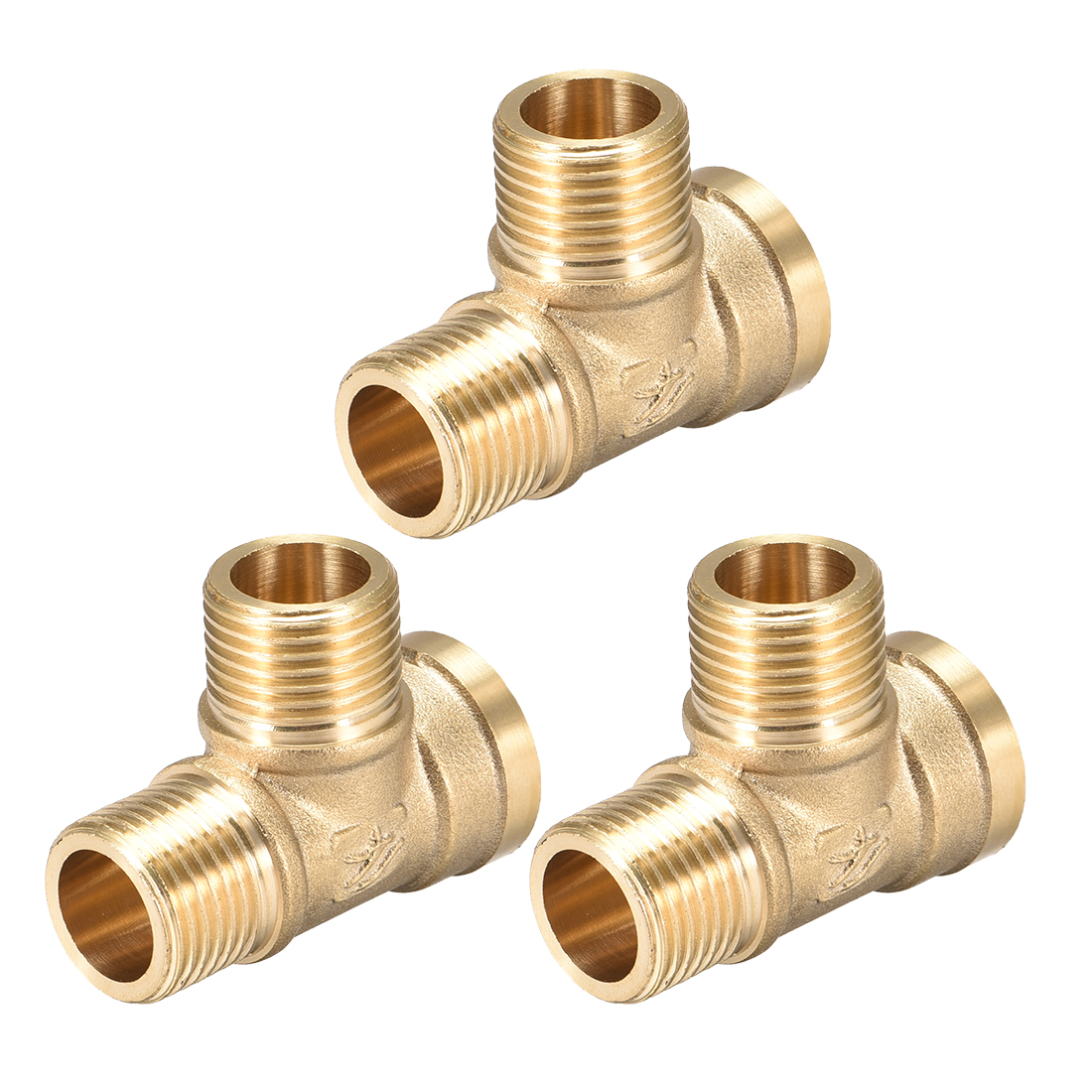 Brass Tee Pipe Fitting G1/2 MalexG1/2 Male xG1/2 Female T Shaped Connector 3pcs