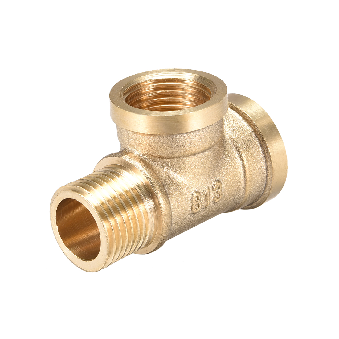 Brass Tee Pipe Fitting G1/2 Male x G1/2 Female x G1/2 Female T Shaped Connector