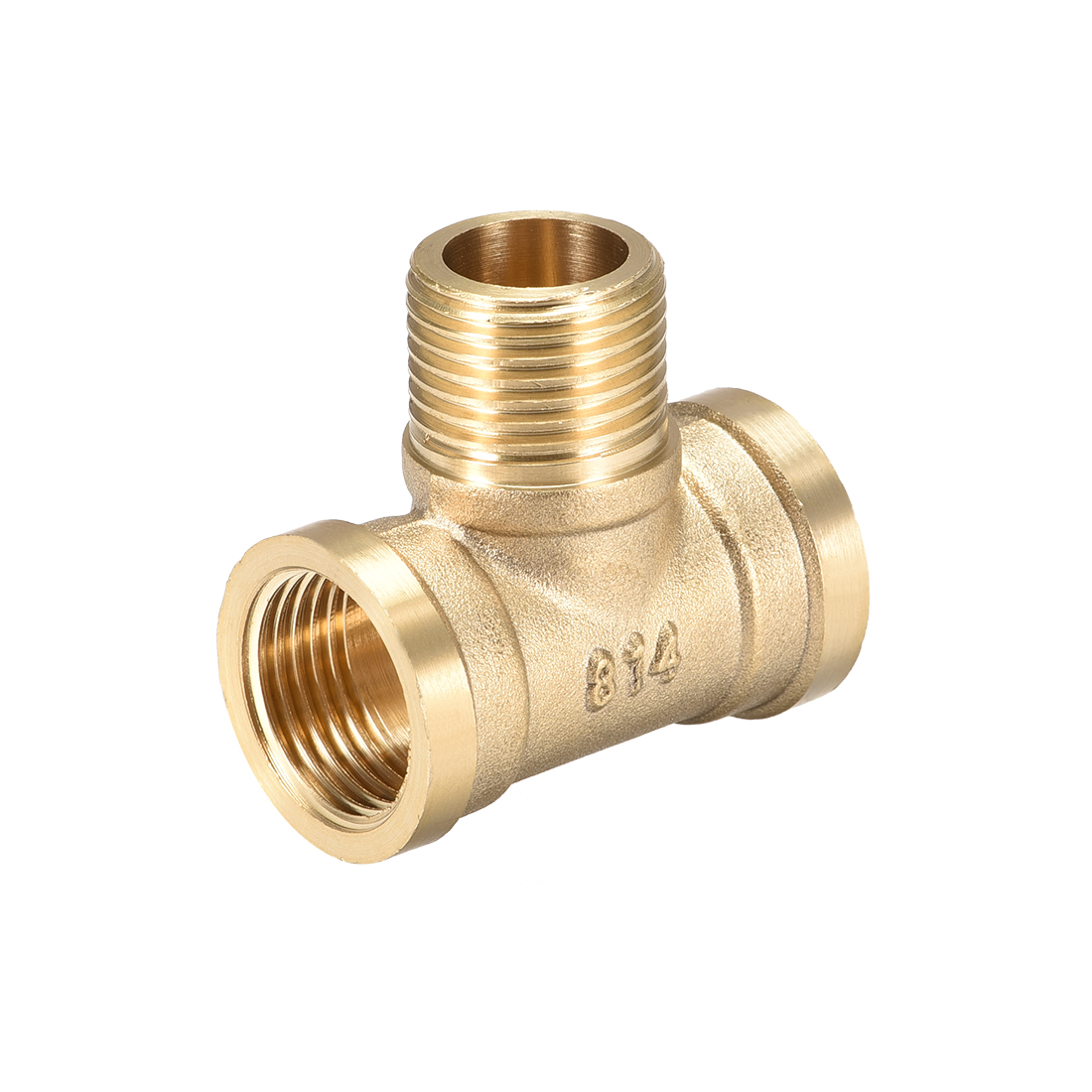 Brass Tee Pipe Fitting G1/2 Female x G1/2 Male x G1/2 Female T Shaped Connector