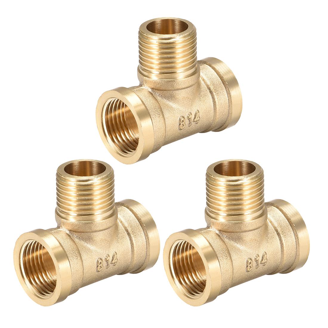 Brass Tee Pipe Fitting G1/2 FemalexG1/2 MalexG1/2 Female T Shaped Connector 3pcs