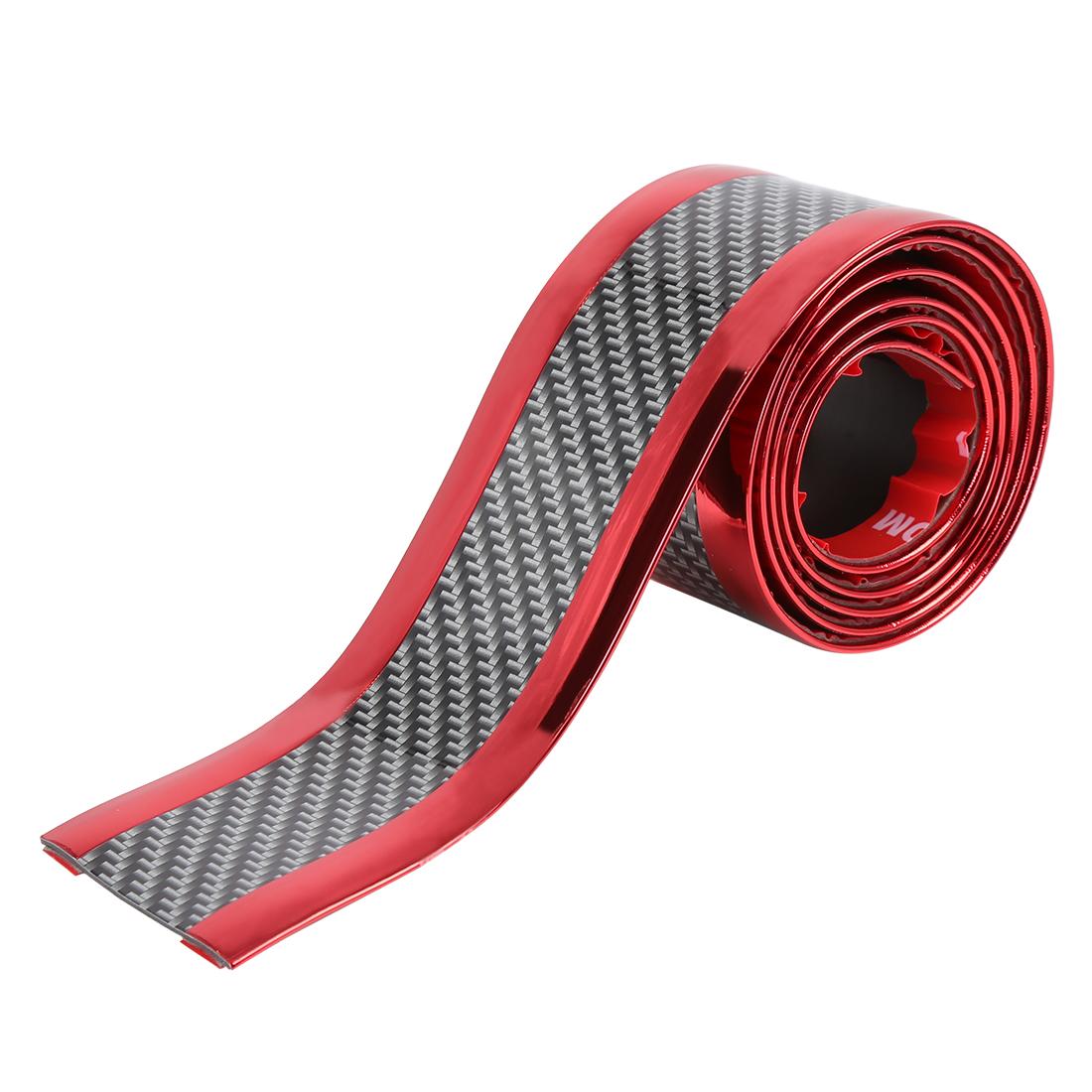 Car Sill Guard Strip Sticker Carbon Fiber Pattern Red Door Edge Scuff Protector
