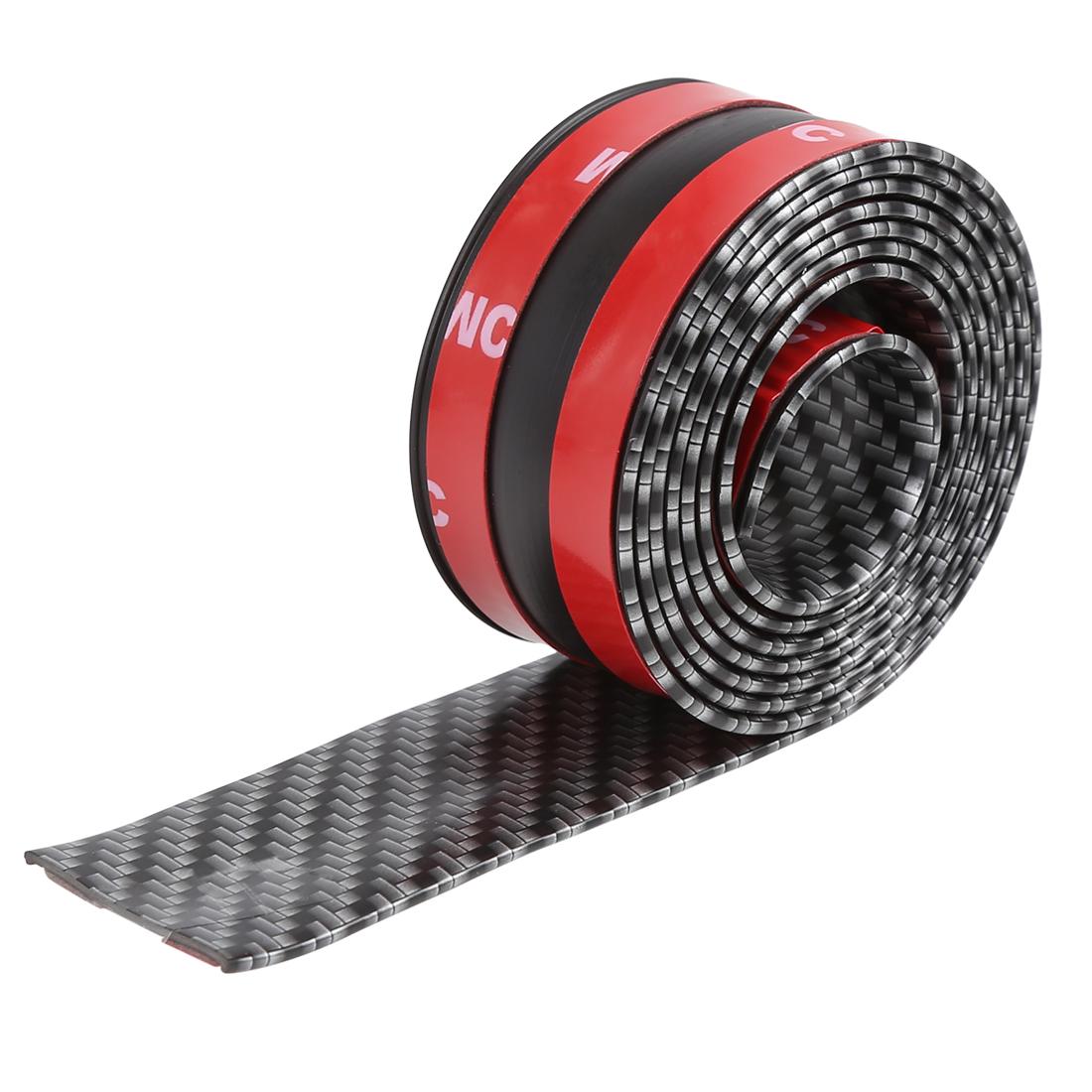 1m 3.3ft Car Sticker Carbon Fiber Pattern Door Sill Protector Edge Guard Strip
