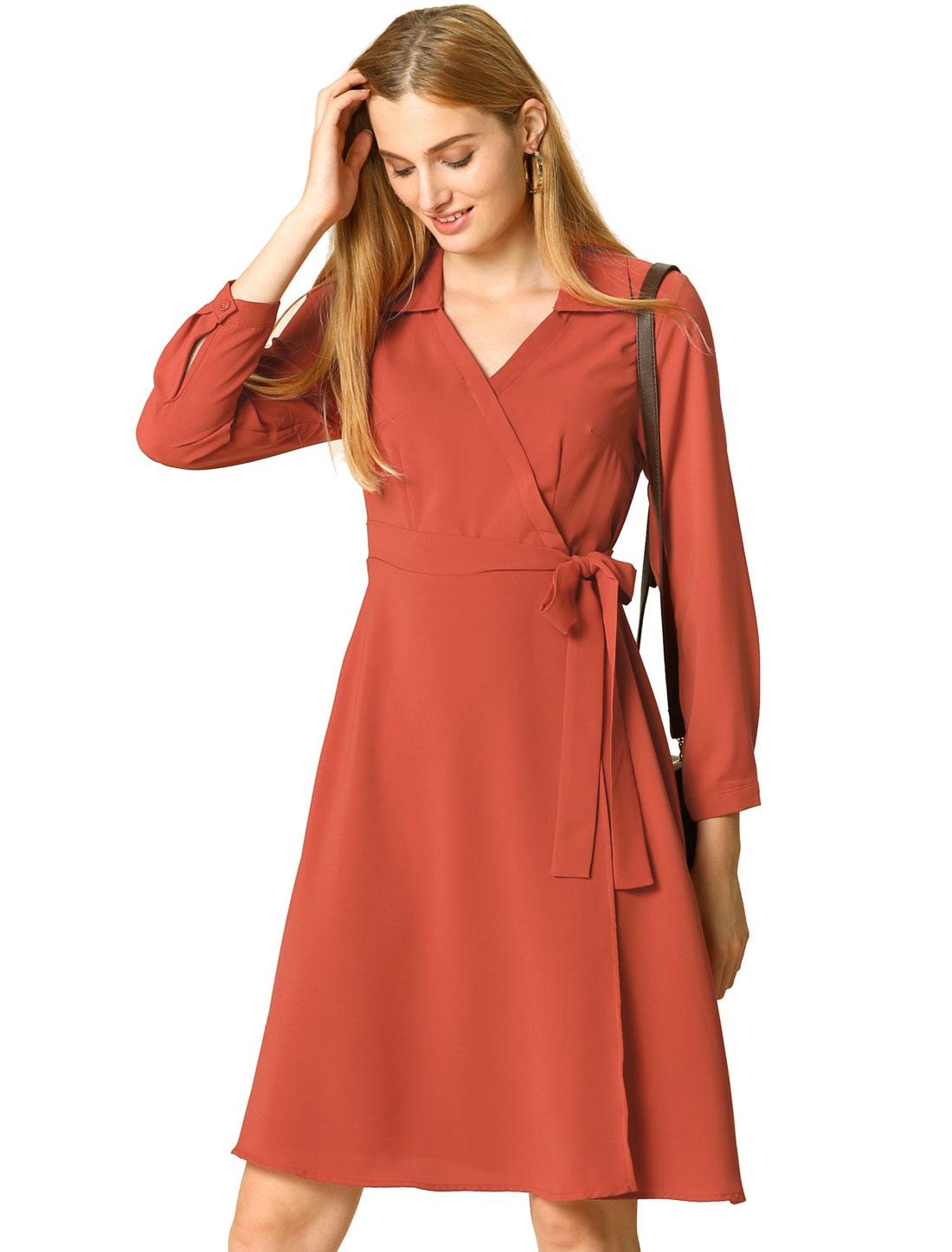 Allegra K Women's Casual Long Sleeve V Neck Tie Waist A-line Dress Orange Red XL