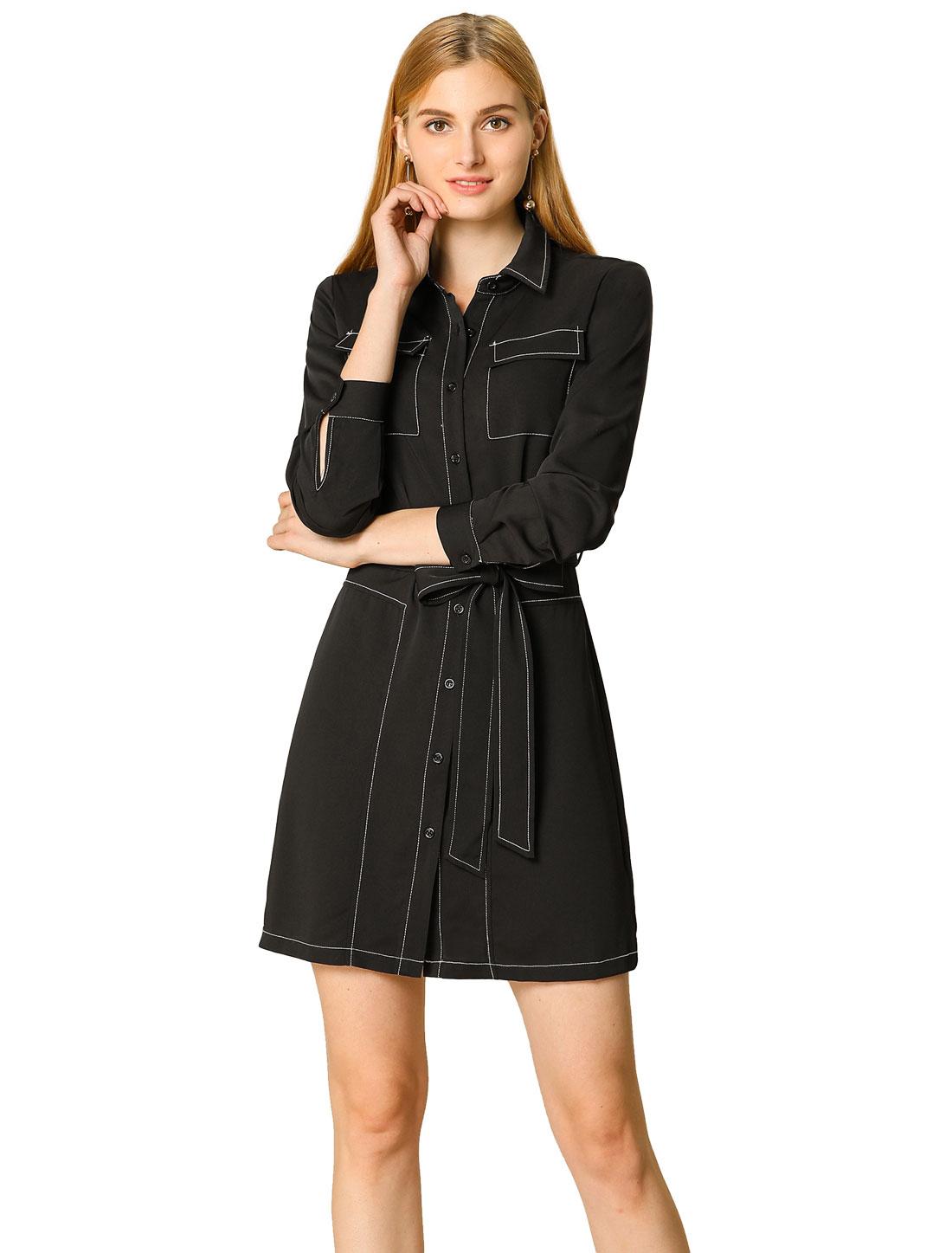 Allegra K Women's Contrast Long Sleeves Belted Waist Dress Black S